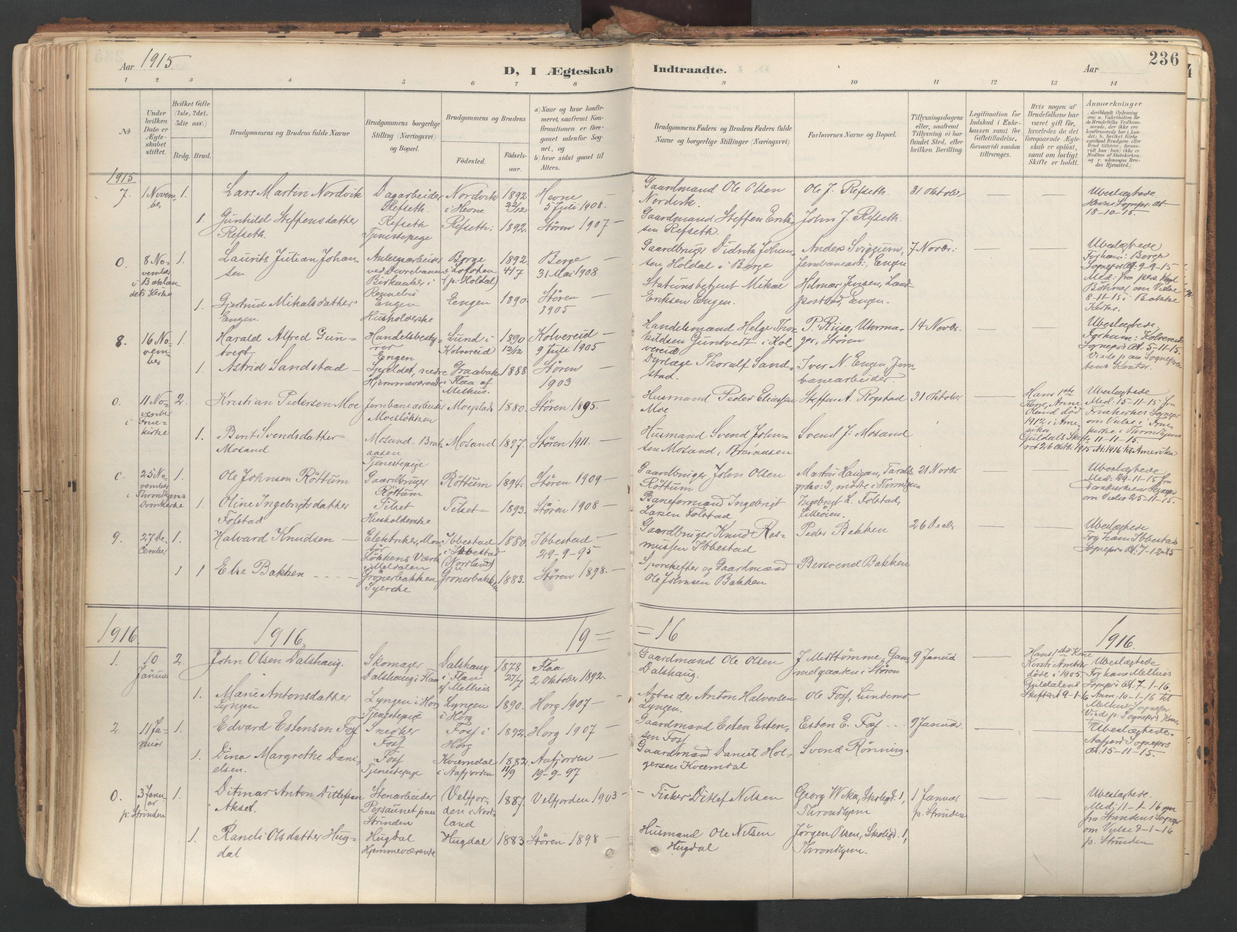 SAT, Ministerialprotokoller, klokkerbøker og fødselsregistre - Sør-Trøndelag, 687/L1004: Ministerialbok nr. 687A10, 1891-1923, s. 236