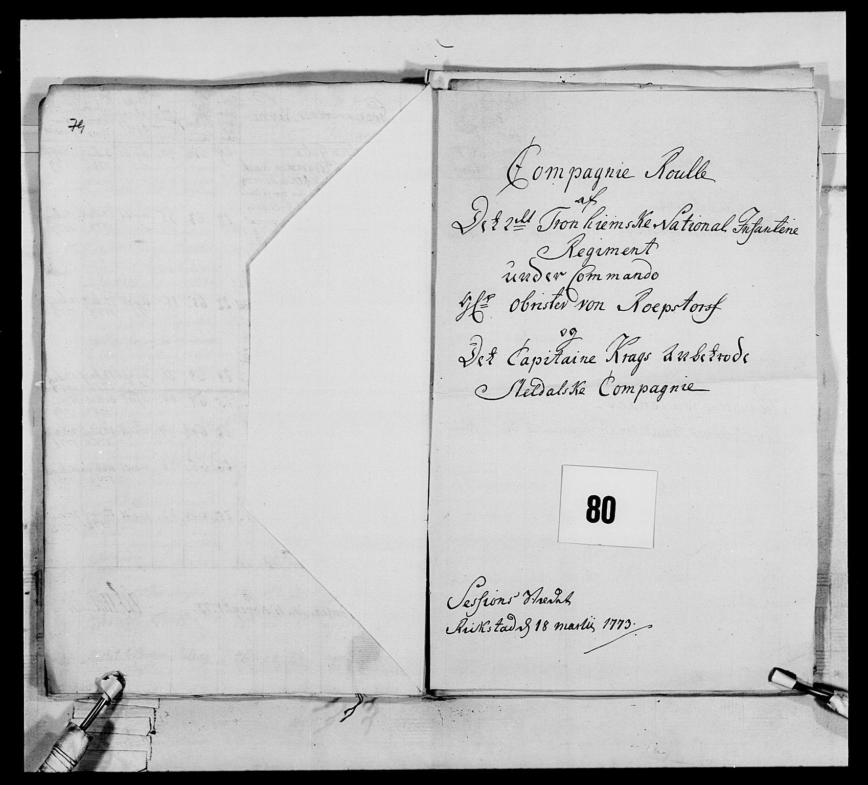 RA, Generalitets- og kommissariatskollegiet, Det kongelige norske kommissariatskollegium, E/Eh/L0076: 2. Trondheimske nasjonale infanteriregiment, 1766-1773, s. 417