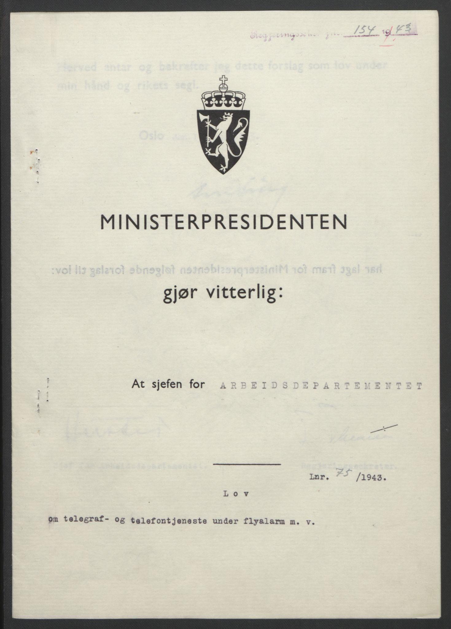 RA, NS-administrasjonen 1940-1945 (Statsrådsekretariatet, de kommisariske statsråder mm), D/Db/L0099: Lover, 1943, s. 345