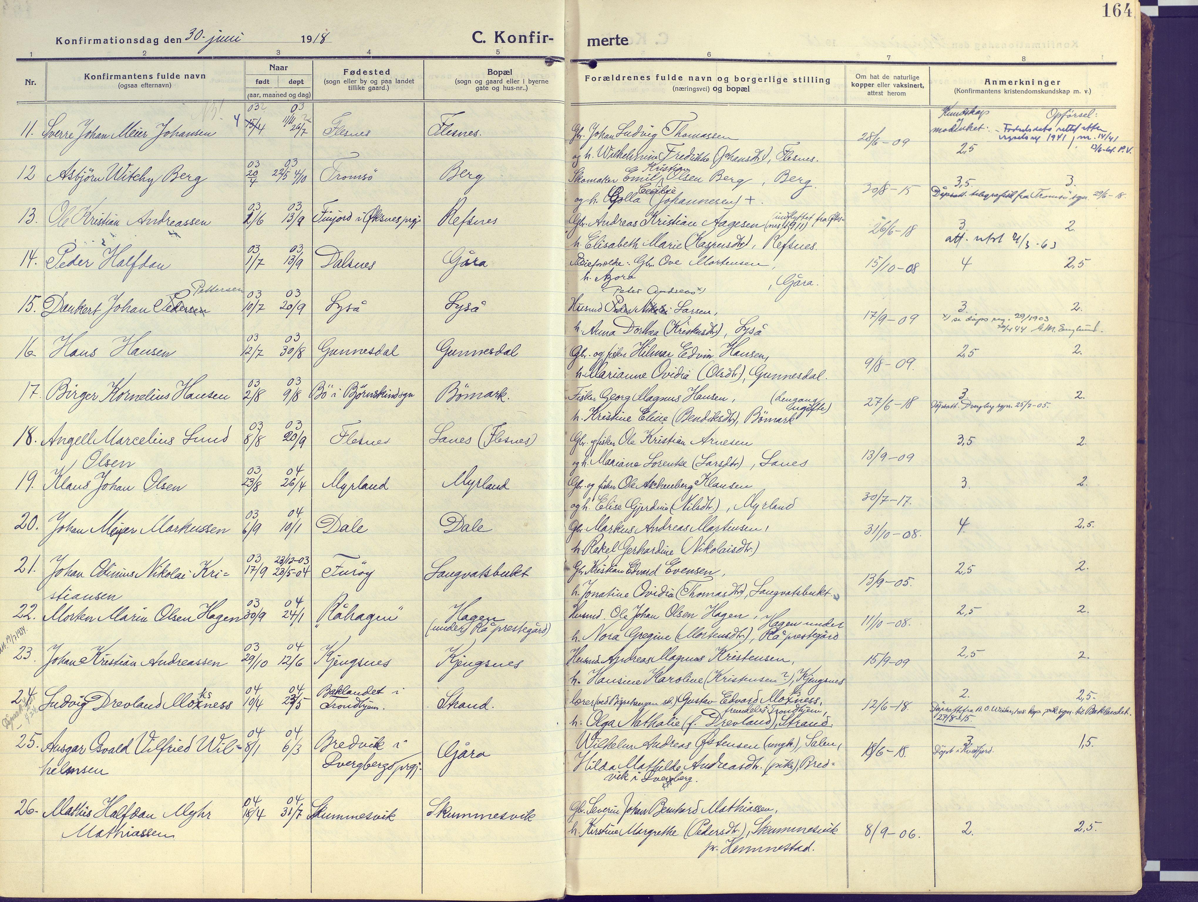 SATØ, Kvæfjord sokneprestkontor, G/Ga/Gaa/L0007kirke: Ministerialbok nr. 7, 1915-1931, s. 164