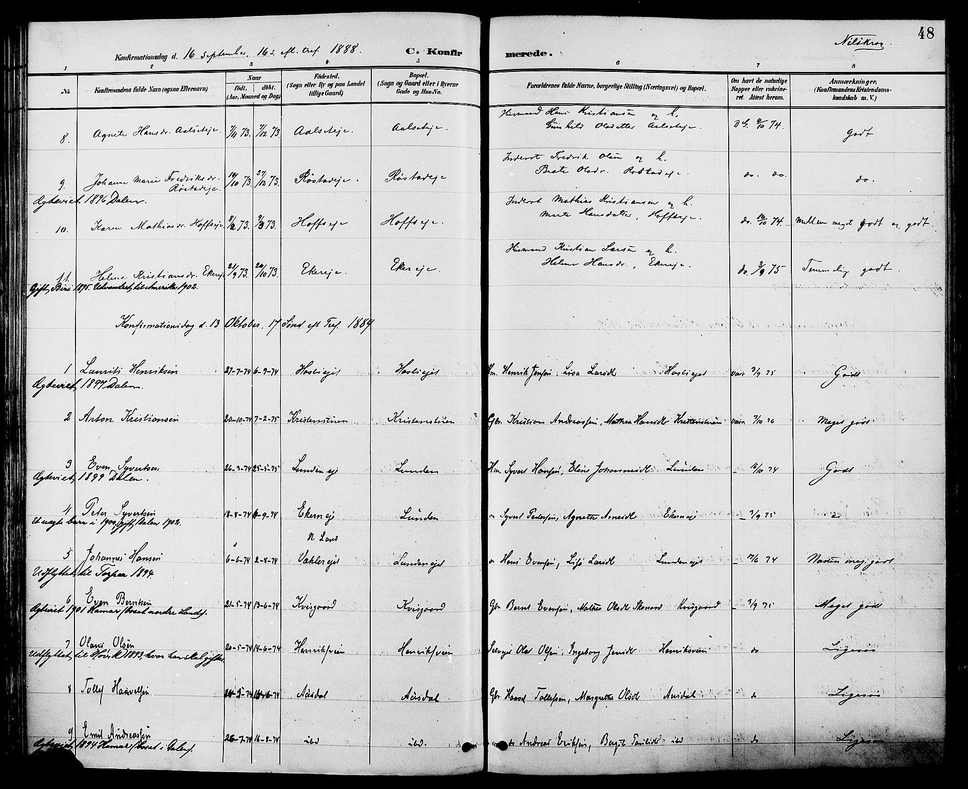 SAH, Biri prestekontor, Ministerialbok nr. 7, 1887-1893, s. 48