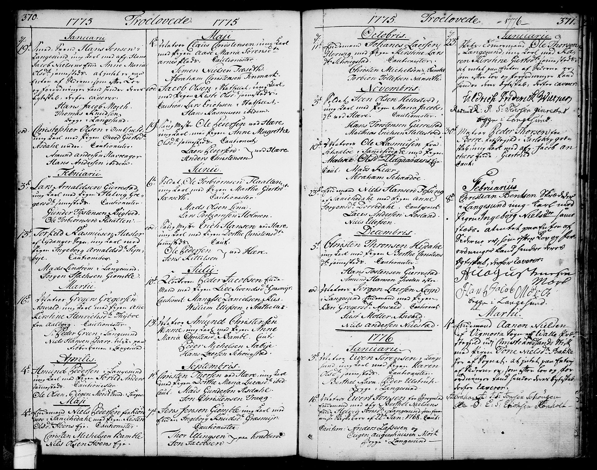 SAKO, Bamble kirkebøker, F/Fa/L0002: Ministerialbok nr. I 2, 1775-1814, s. 370-371