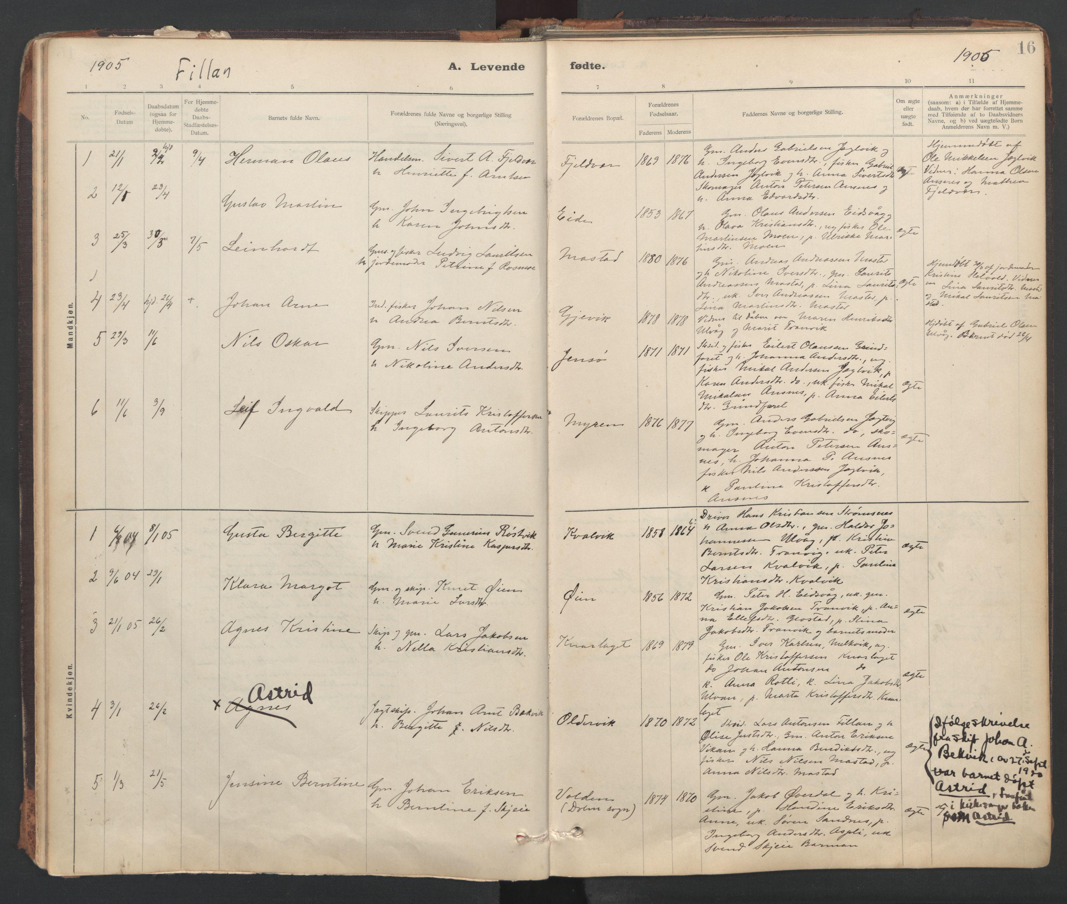 SAT, Ministerialprotokoller, klokkerbøker og fødselsregistre - Sør-Trøndelag, 637/L0559: Ministerialbok nr. 637A02, 1899-1923, s. 16