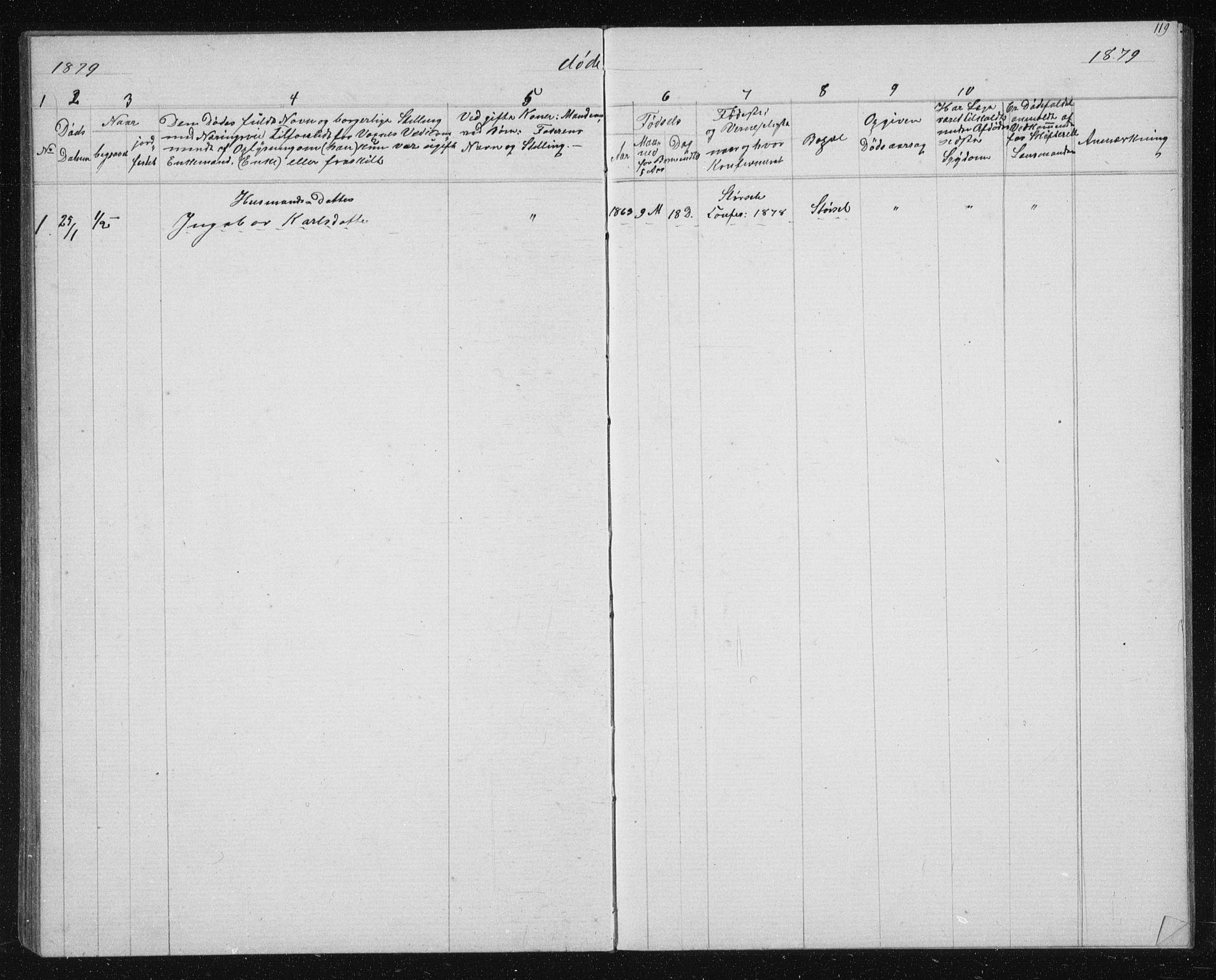 SAT, Ministerialprotokoller, klokkerbøker og fødselsregistre - Sør-Trøndelag, 631/L0513: Klokkerbok nr. 631C01, 1869-1879, s. 119