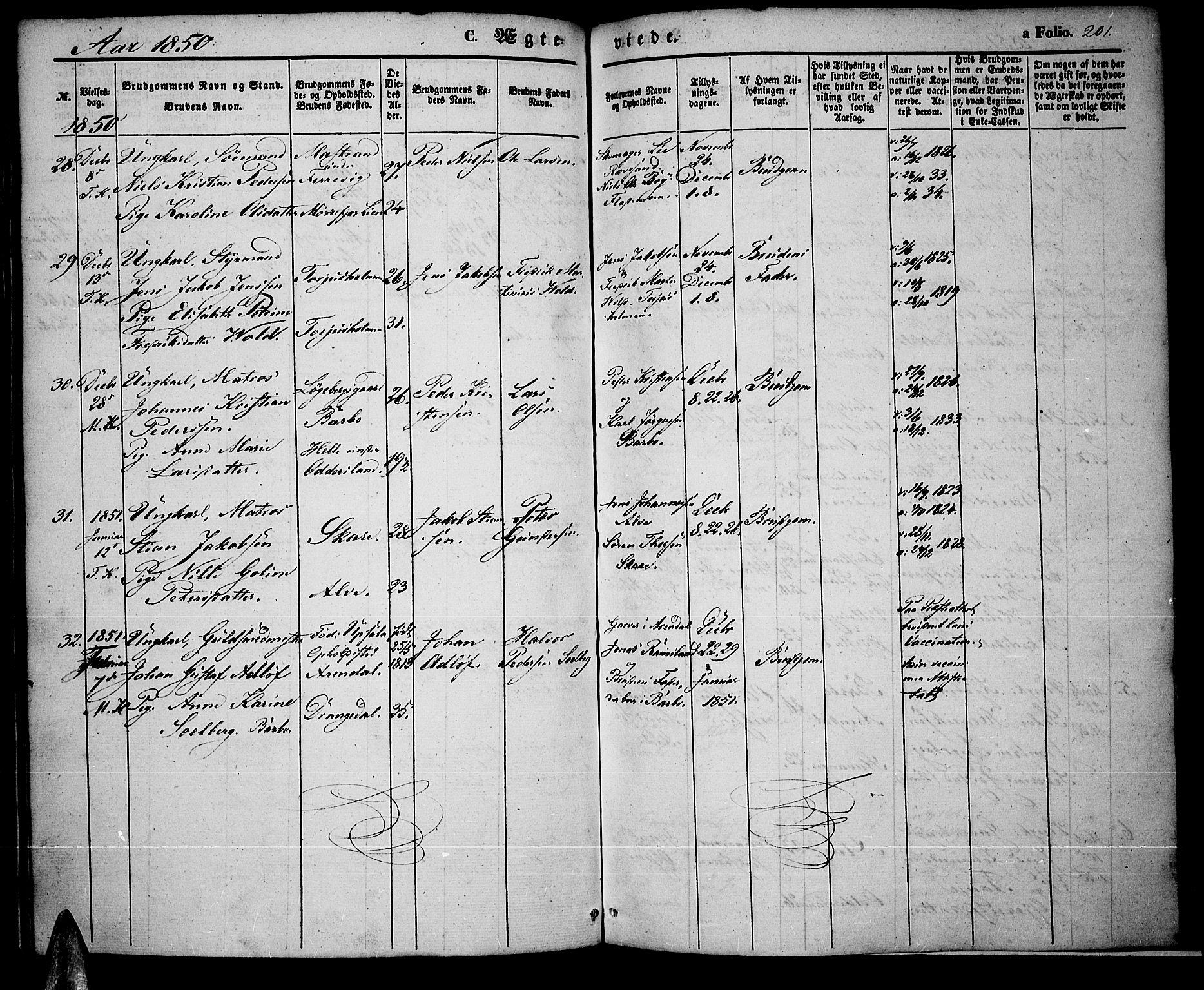 SAK, Tromøy sokneprestkontor, F/Fa/L0005: Ministerialbok nr. A 5, 1847-1856, s. 201