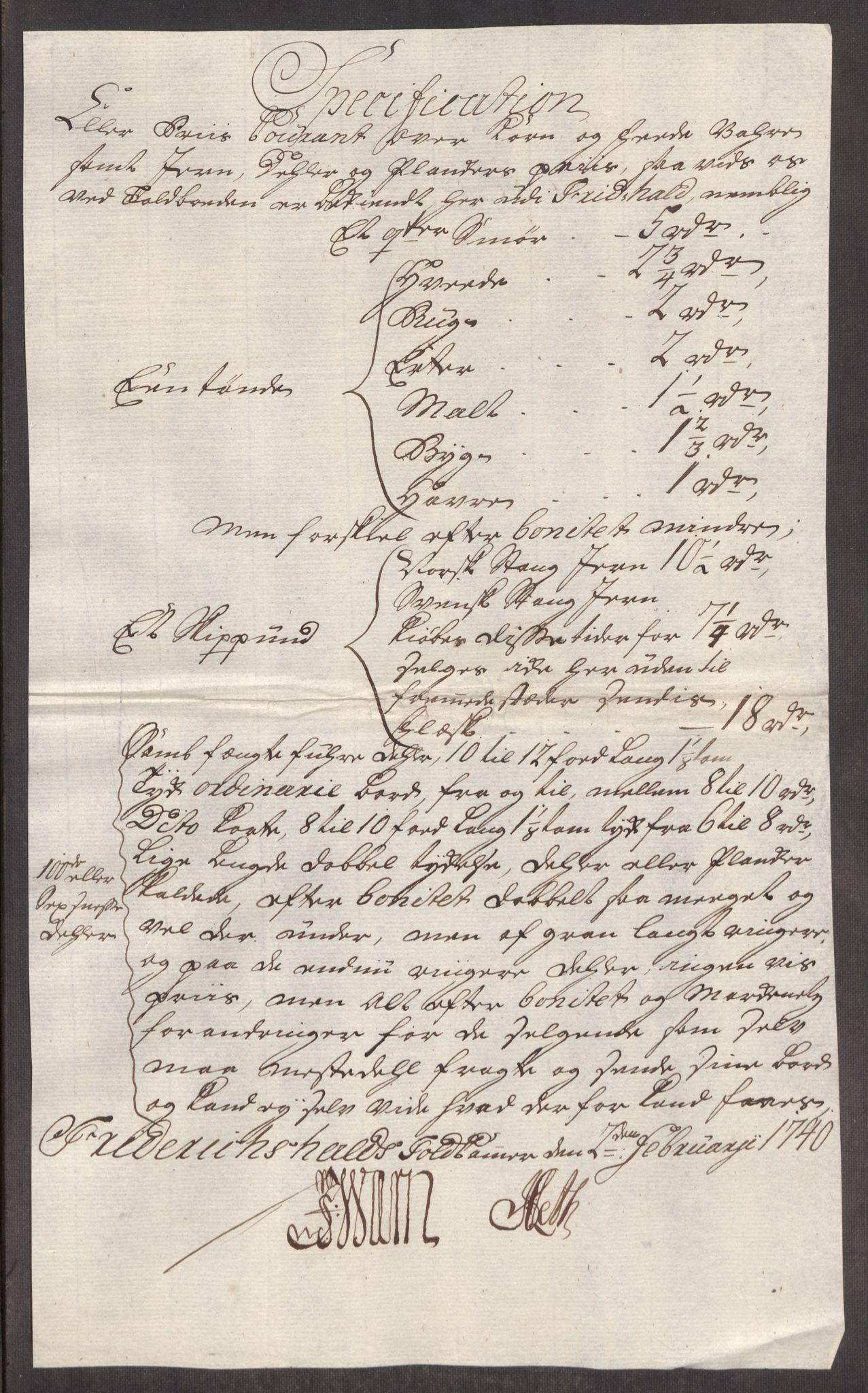 RA, Rentekammeret inntil 1814, Realistisk ordnet avdeling, Oe/L0002: [Ø1]: Priskuranter, 1740-1744, s. 7