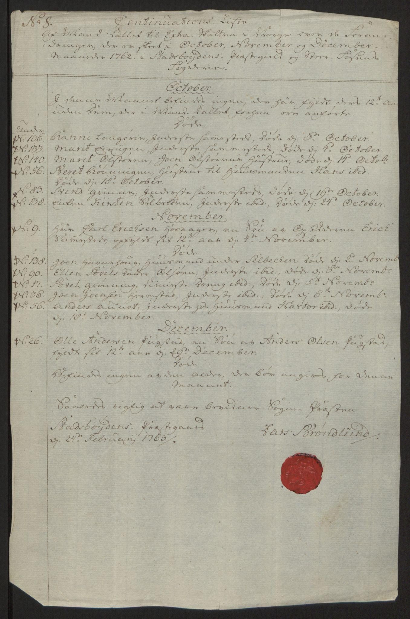 RA, Rentekammeret inntil 1814, Reviderte regnskaper, Fogderegnskap, R57/L3930: Ekstraskatten Fosen, 1762-1763, s. 224