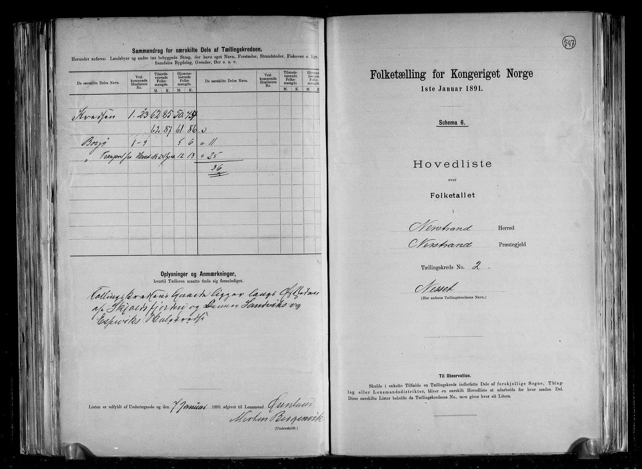 RA, Folketelling 1891 for 1139 Nedstrand herred, 1891, s. 7