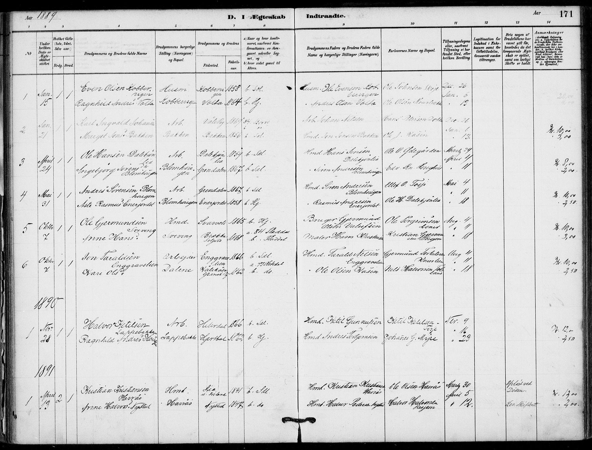 SAKO, Hjartdal kirkebøker, F/Fb/L0002: Ministerialbok nr. II 2, 1880-1932, s. 171