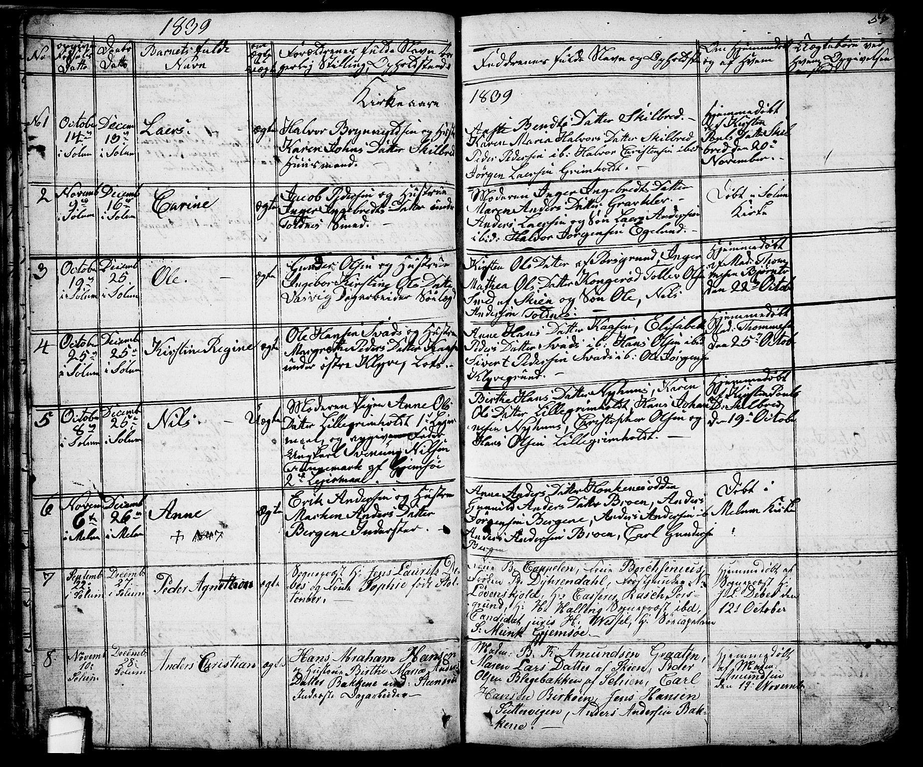SAKO, Solum kirkebøker, G/Ga/L0002: Klokkerbok nr. I 2, 1834-1848, s. 57