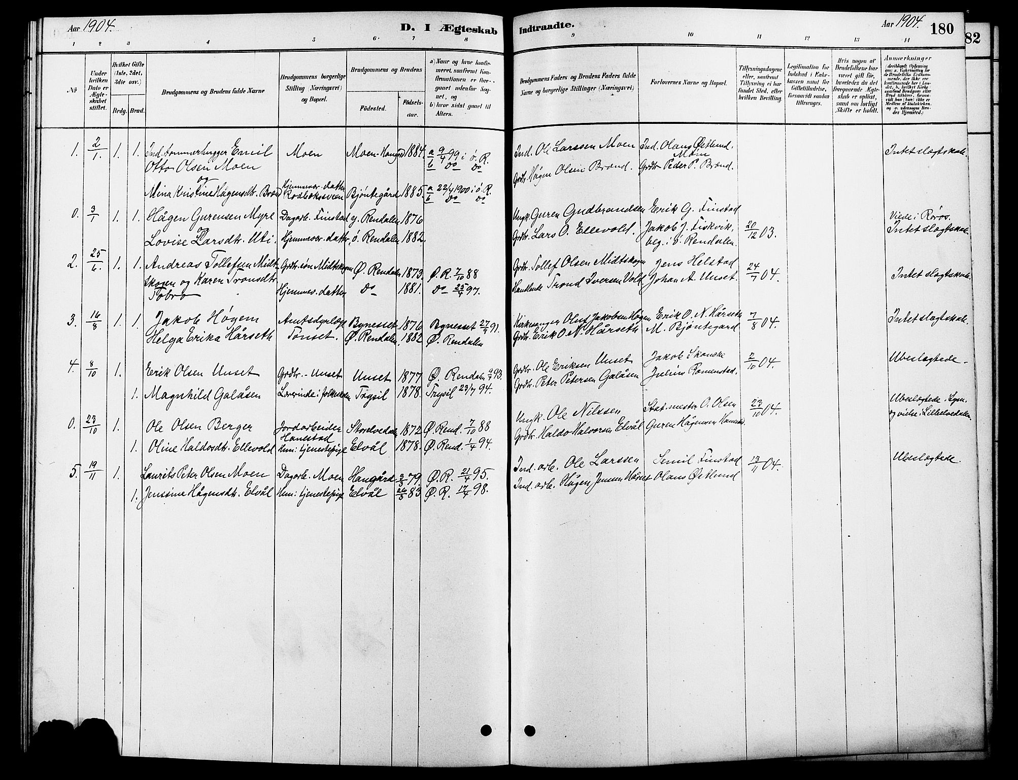 SAH, Rendalen prestekontor, H/Ha/Hab/L0003: Klokkerbok nr. 3, 1879-1904, s. 180