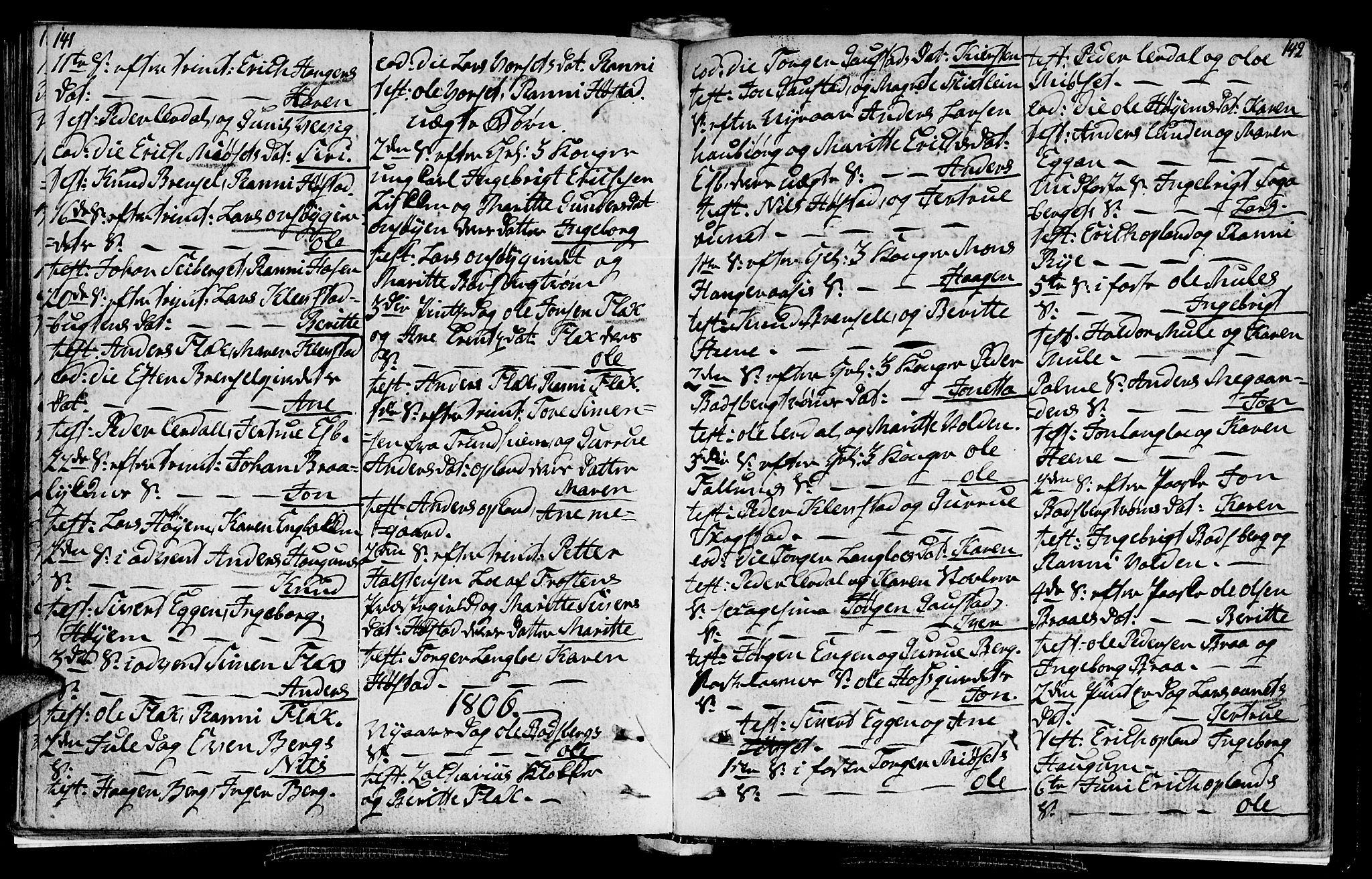 SAT, Ministerialprotokoller, klokkerbøker og fødselsregistre - Sør-Trøndelag, 612/L0371: Ministerialbok nr. 612A05, 1803-1816, s. 141-142
