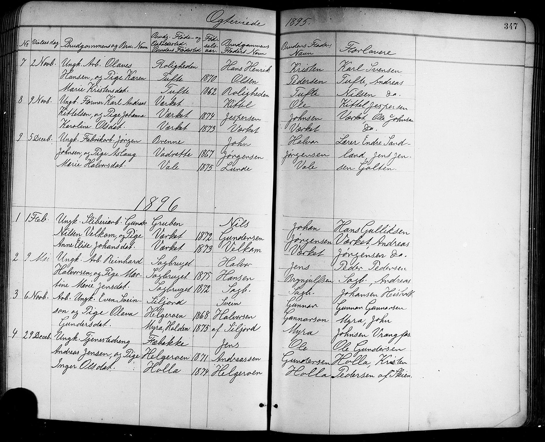 SAKO, Holla kirkebøker, G/Ga/L0005: Klokkerbok nr. I 5, 1891-1917, s. 347