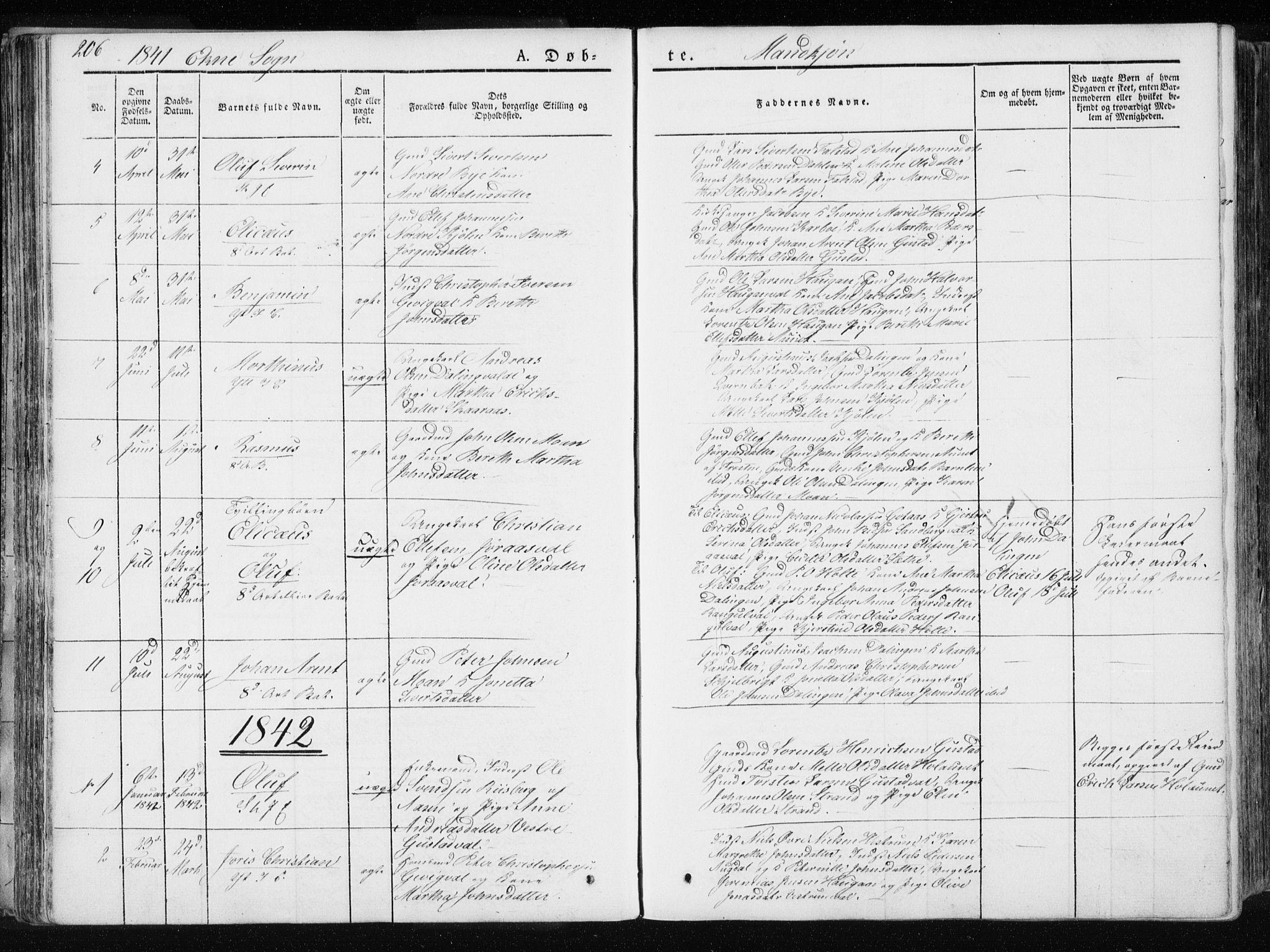 SAT, Ministerialprotokoller, klokkerbøker og fødselsregistre - Nord-Trøndelag, 717/L0154: Ministerialbok nr. 717A06 /2, 1836-1849, s. 206