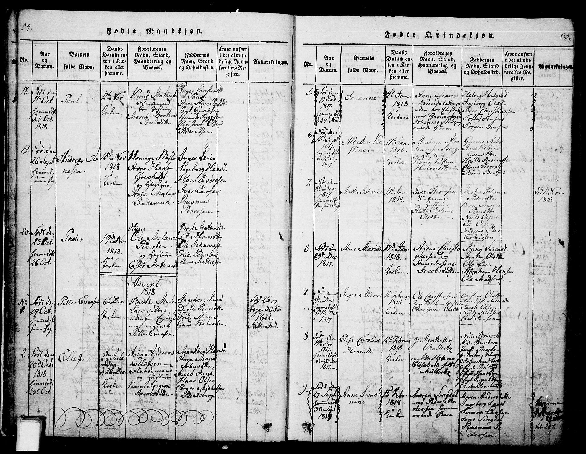 SAKO, Skien kirkebøker, G/Ga/L0002: Klokkerbok nr. 2, 1814-1842, s. 34-35