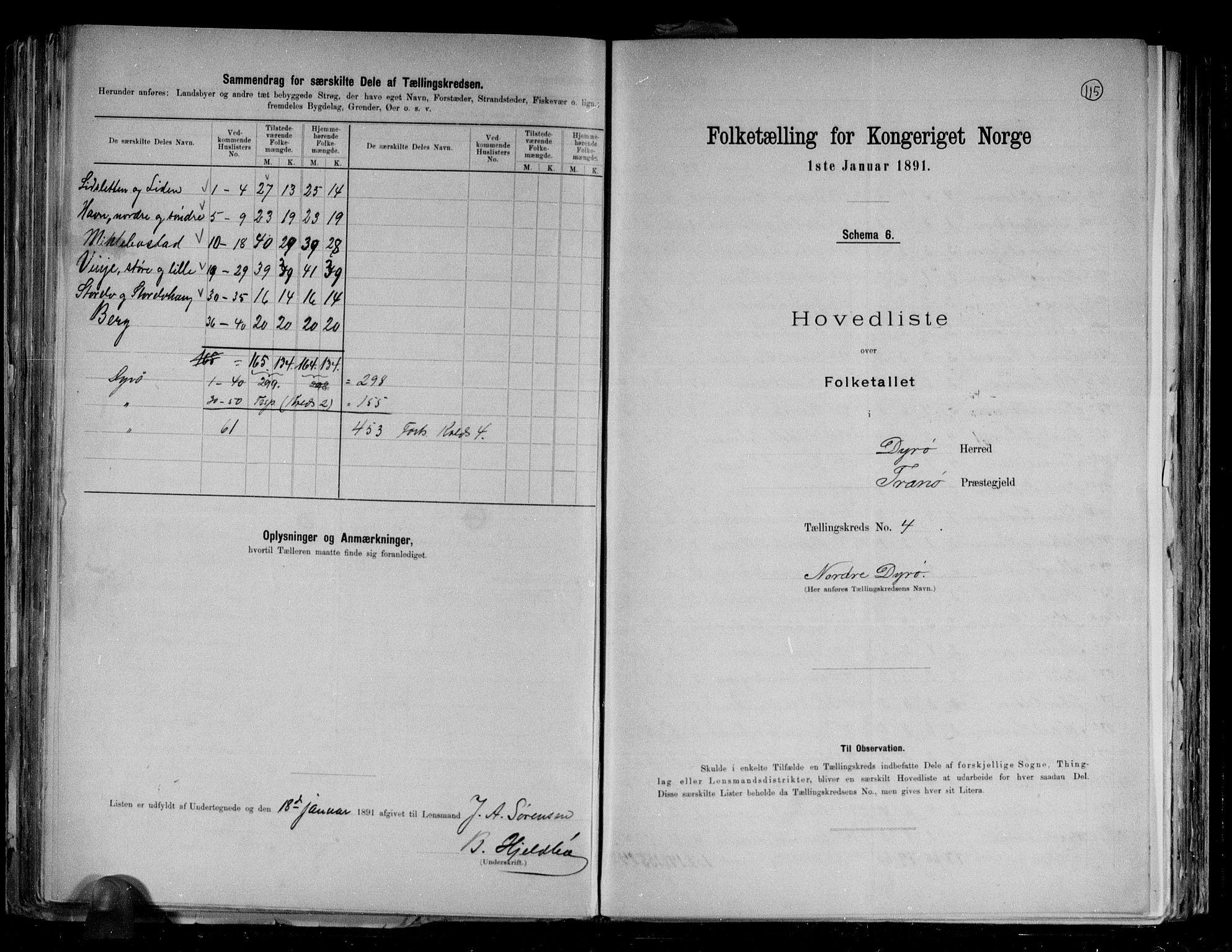 RA, Folketelling 1891 for 1926 Dyrøy herred, 1891, s. 12