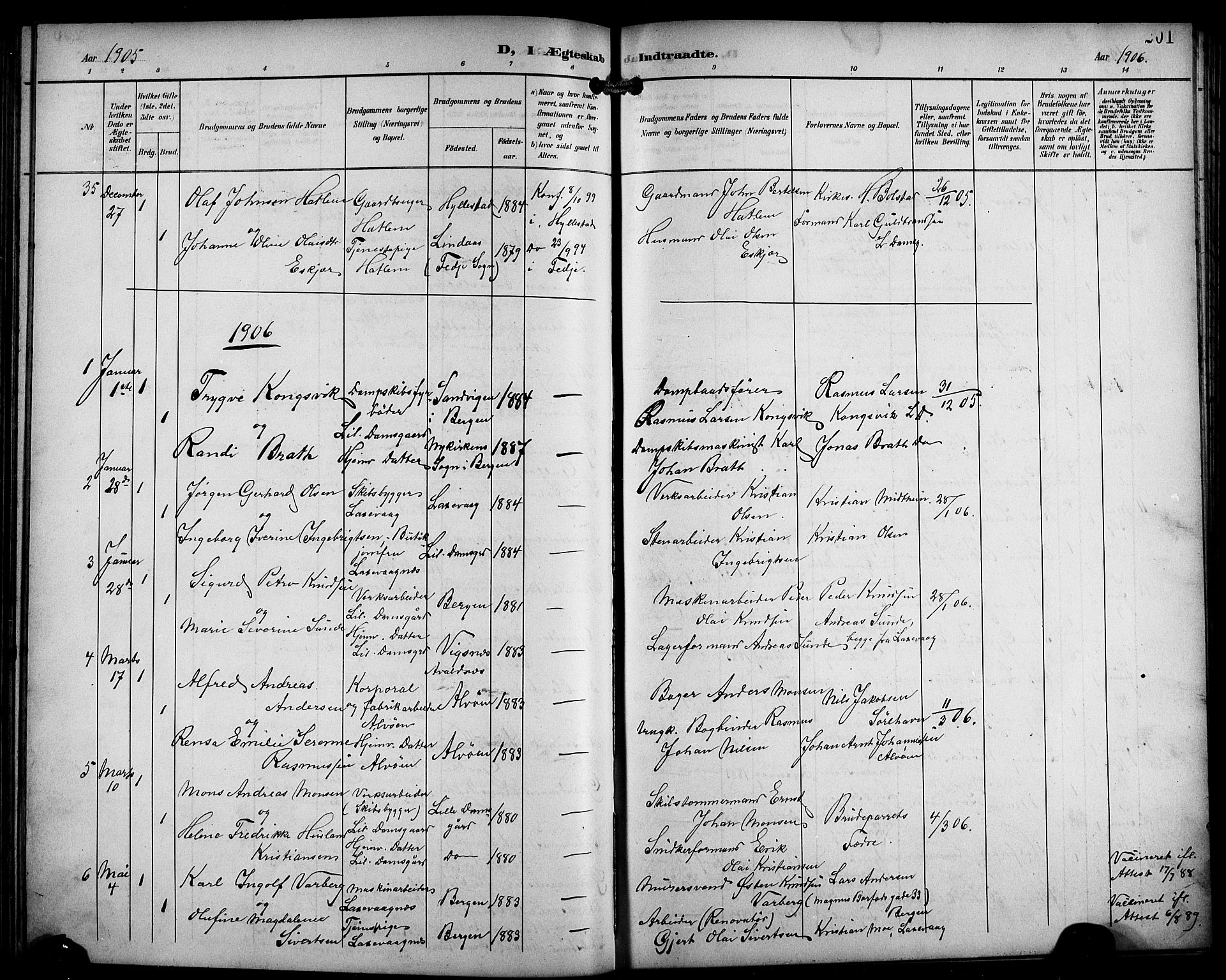 SAB, Laksevåg Sokneprestembete, H/Ha/Hab/Haba/L0004: Klokkerbok nr. A 4, 1899-1909, s. 201