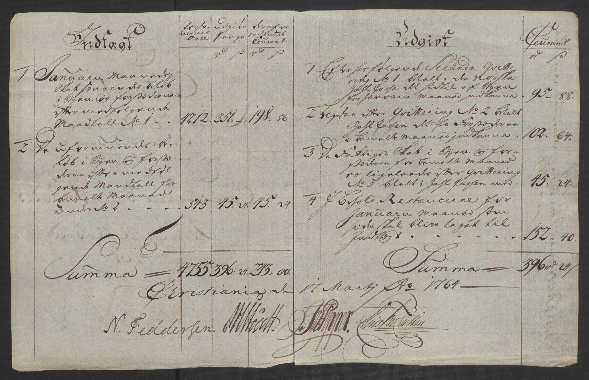 RA, Rentekammeret inntil 1814, Reviderte regnskaper, Byregnskaper, R/Re/L0072: [E13] Kontribusjonsregnskap, 1763-1764, s. 281