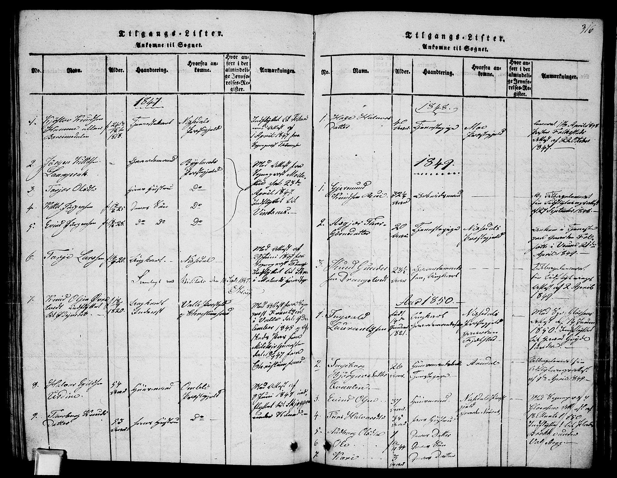 SAKO, Fyresdal kirkebøker, G/Ga/L0002: Klokkerbok nr. I 2, 1815-1857, s. 316