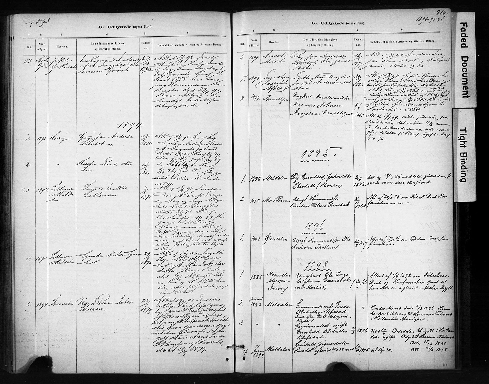 SAT, Ministerialprotokoller, klokkerbøker og fødselsregistre - Sør-Trøndelag, 694/L1127: Ministerialbok nr. 694A01, 1887-1905, s. 210