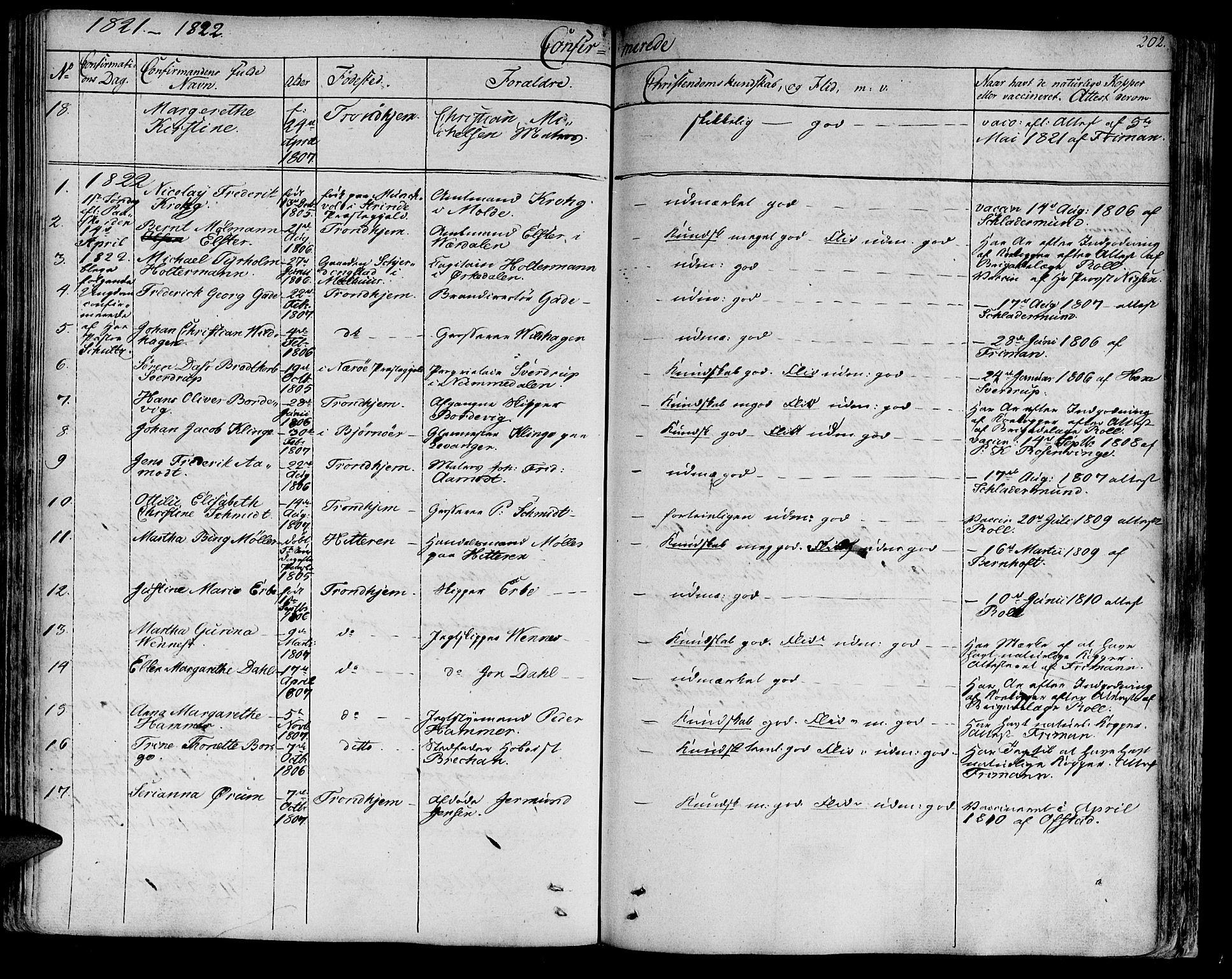 SAT, Ministerialprotokoller, klokkerbøker og fødselsregistre - Sør-Trøndelag, 602/L0108: Ministerialbok nr. 602A06, 1821-1839, s. 202