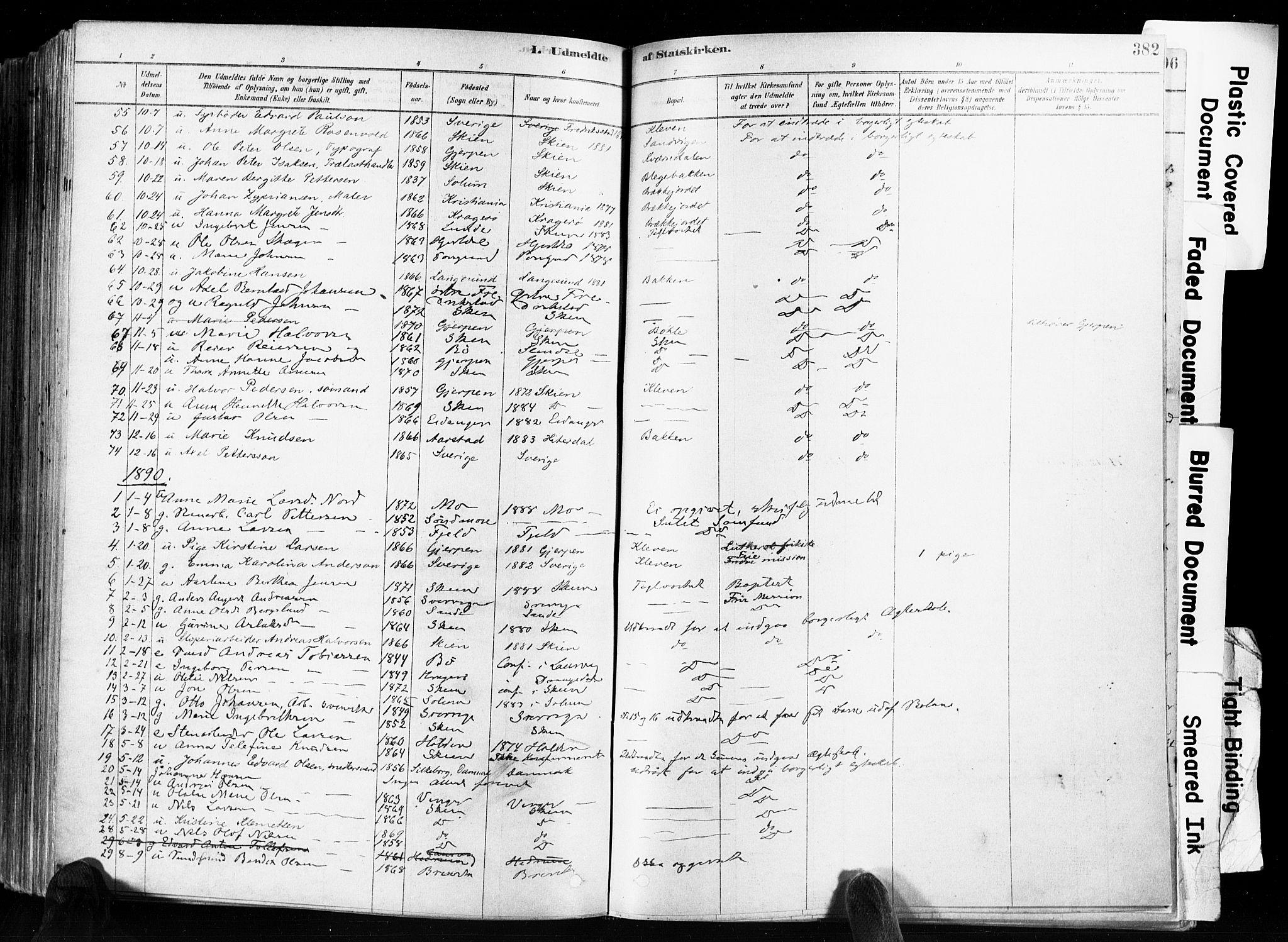 SAKO, Skien kirkebøker, F/Fa/L0009: Ministerialbok nr. 9, 1878-1890, s. 382