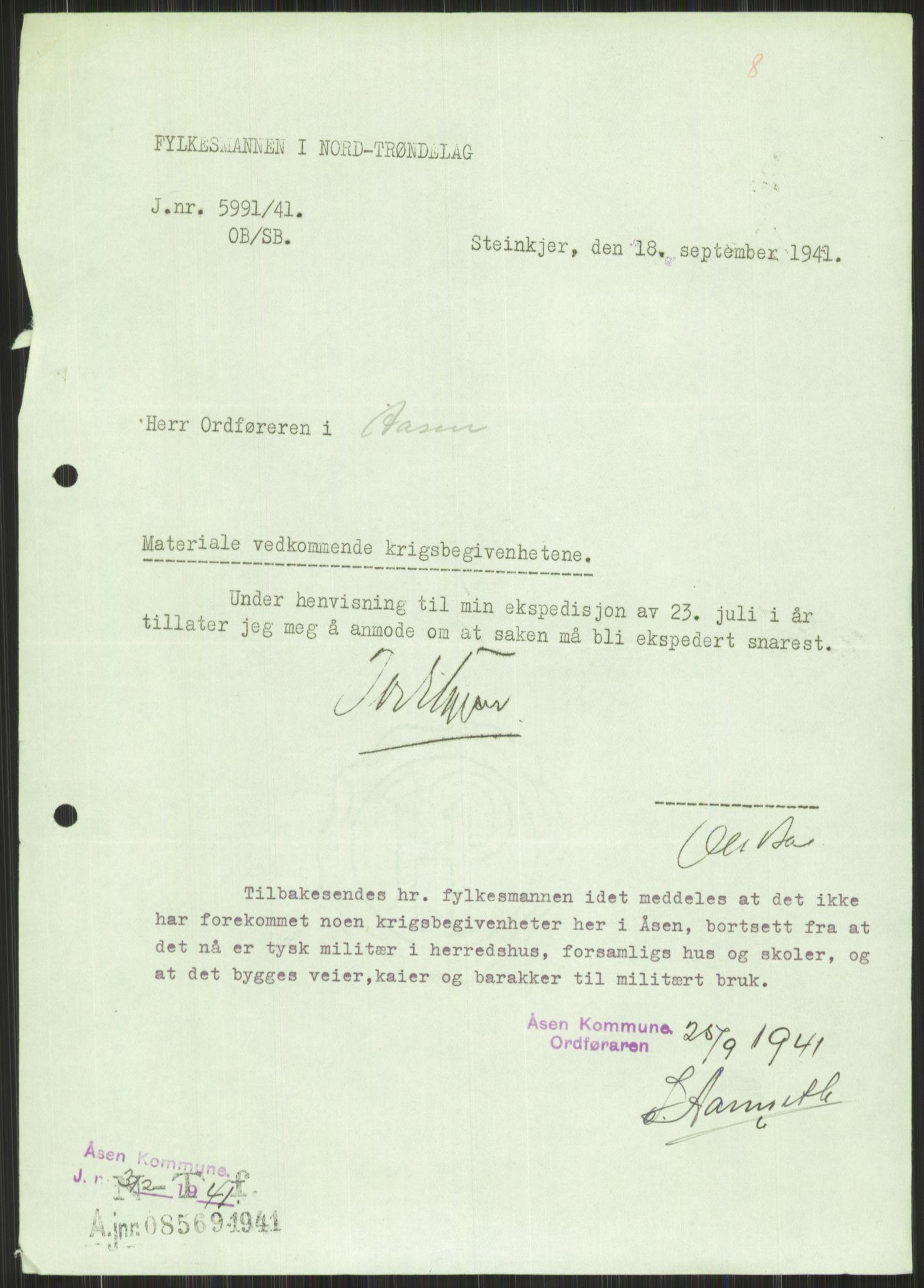 RA, Forsvaret, Forsvarets krigshistoriske avdeling, Y/Ya/L0016: II-C-11-31 - Fylkesmenn.  Rapporter om krigsbegivenhetene 1940., 1940, s. 606
