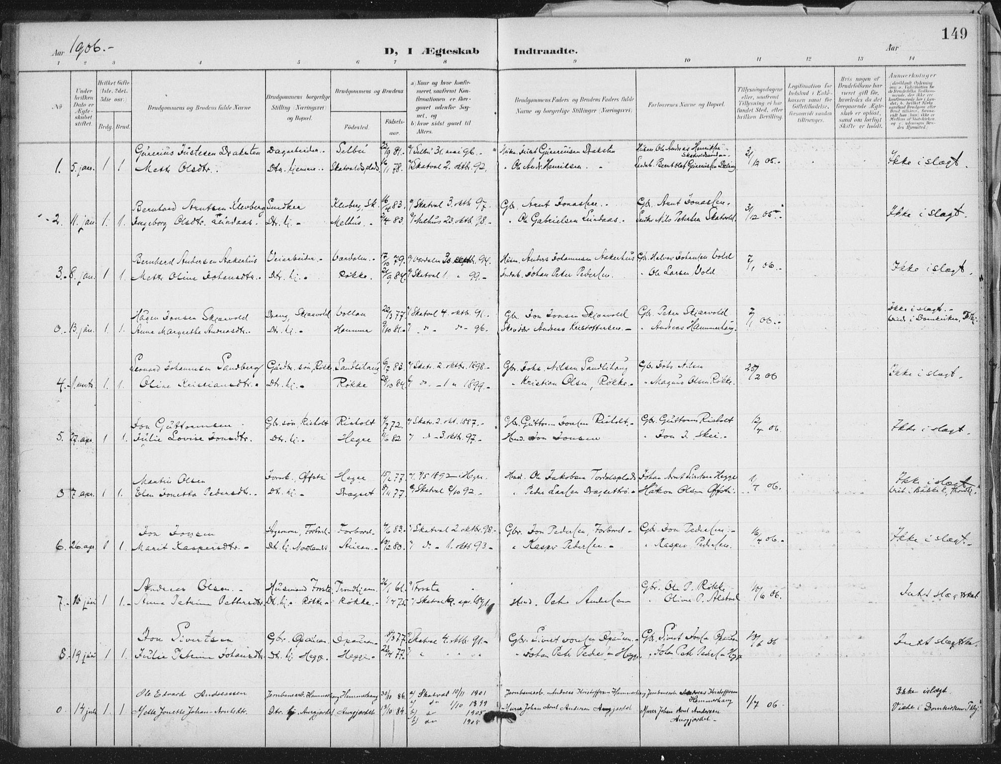 SAT, Ministerialprotokoller, klokkerbøker og fødselsregistre - Nord-Trøndelag, 712/L0101: Ministerialbok nr. 712A02, 1901-1916, s. 149
