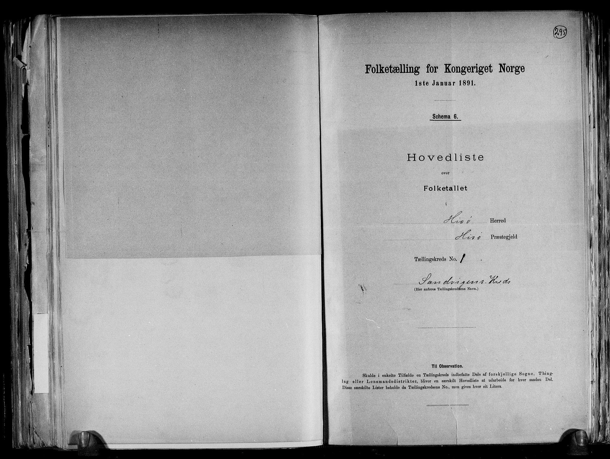 RA, Folketelling 1891 for 0922 Hisøy herred, 1891, s. 5
