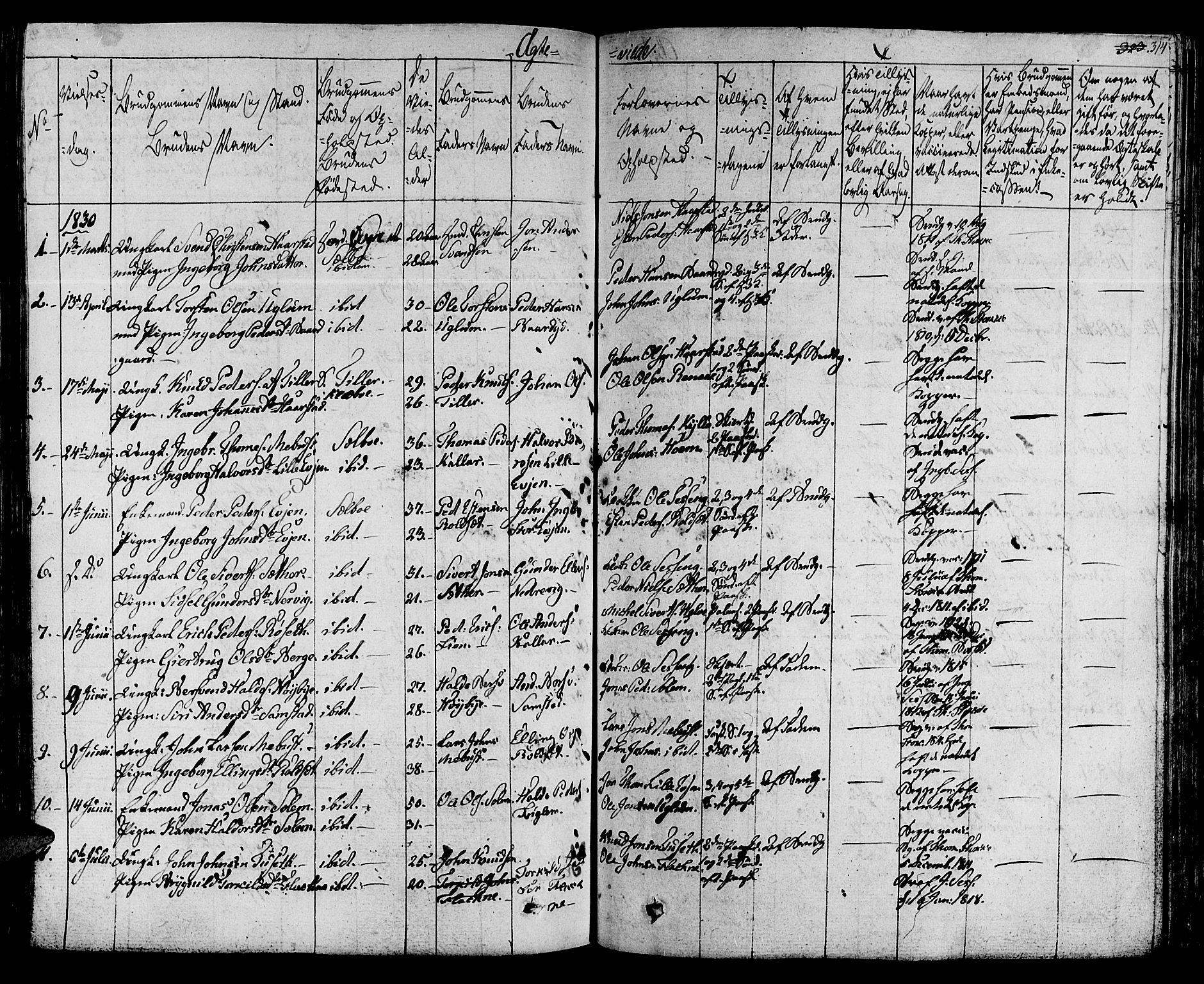 SAT, Ministerialprotokoller, klokkerbøker og fødselsregistre - Sør-Trøndelag, 695/L1143: Ministerialbok nr. 695A05 /1, 1824-1842, s. 314