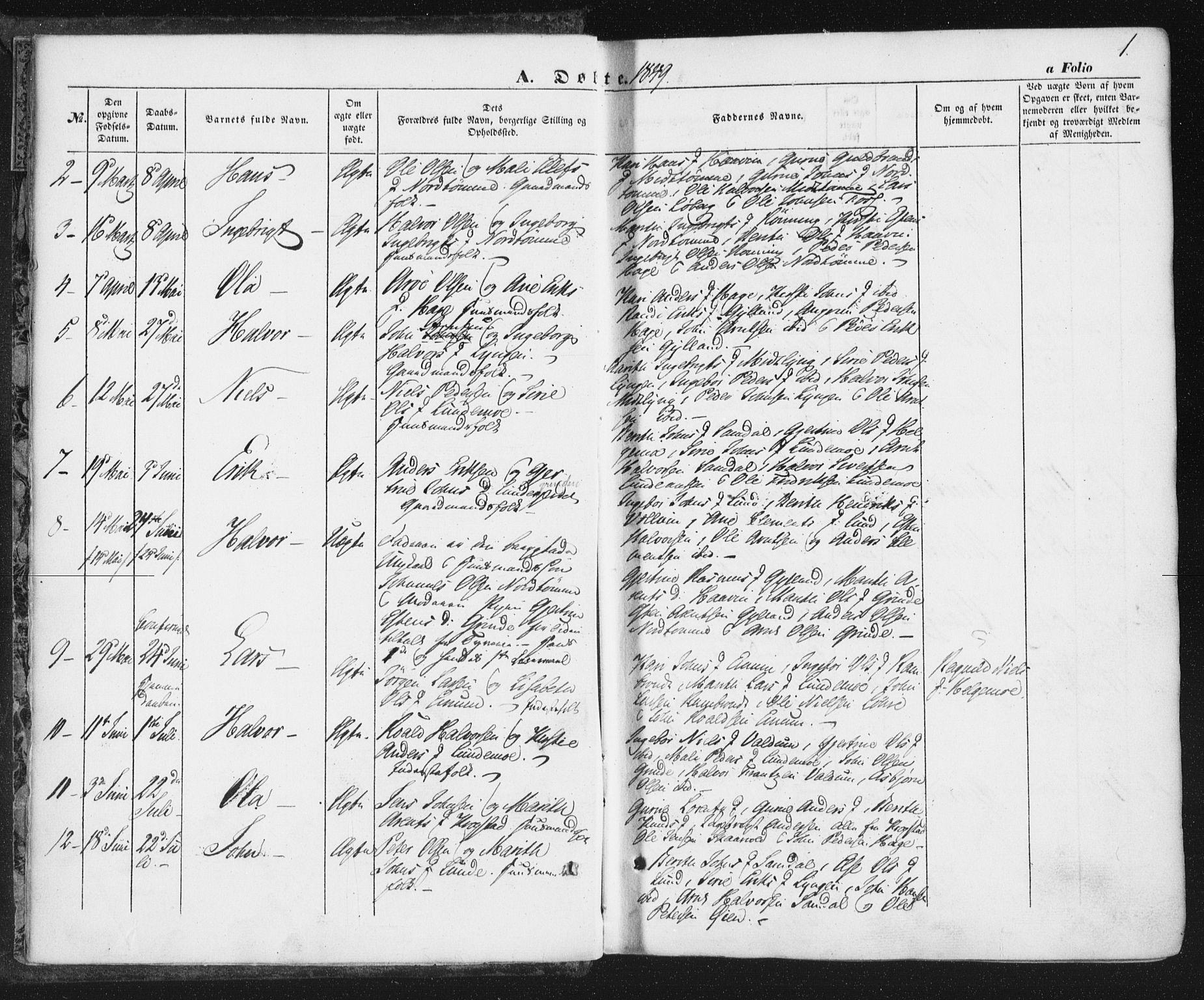 SAT, Ministerialprotokoller, klokkerbøker og fødselsregistre - Sør-Trøndelag, 692/L1103: Ministerialbok nr. 692A03, 1849-1870, s. 1