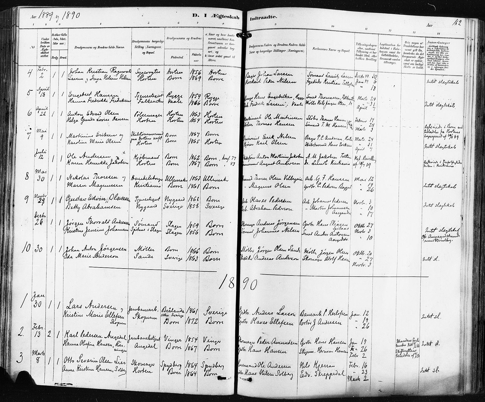 SAKO, Borre kirkebøker, F/Fa/L0009: Ministerialbok nr. I 9, 1878-1896, s. 162