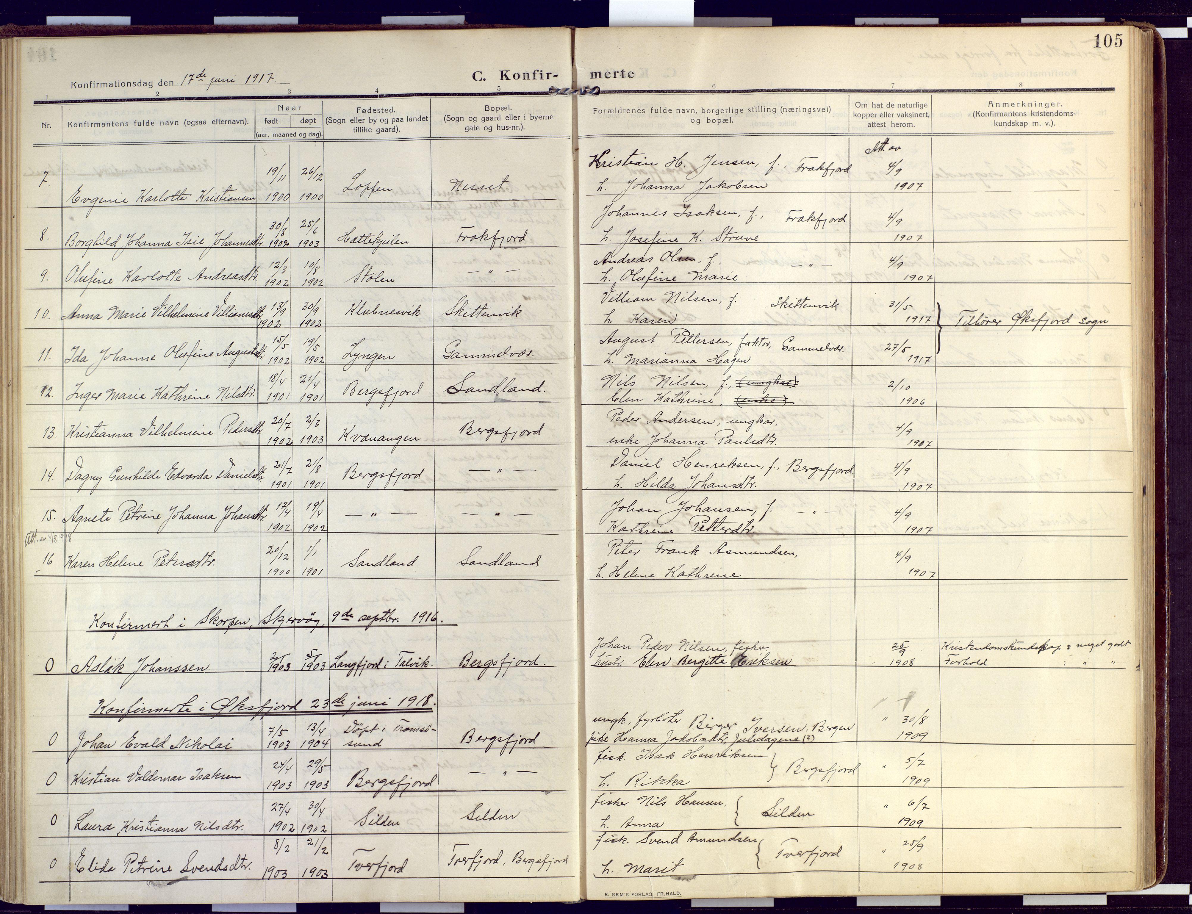 SATØ, Loppa sokneprestkontor, H/Ha/L0011kirke: Ministerialbok nr. 11, 1909-1919, s. 105