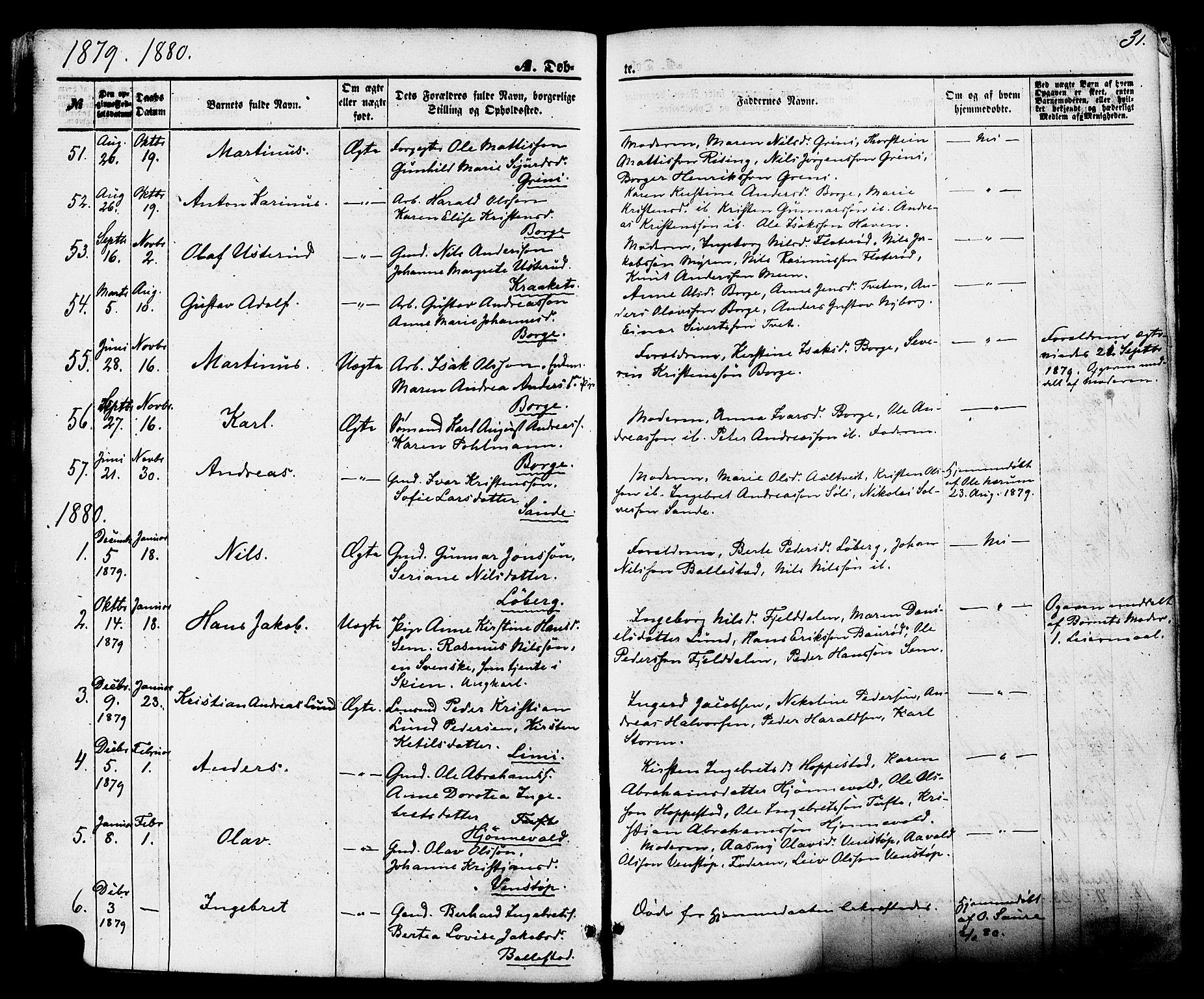 SAKO, Gjerpen kirkebøker, F/Fa/L0009: Ministerialbok nr. 9, 1872-1885, s. 31