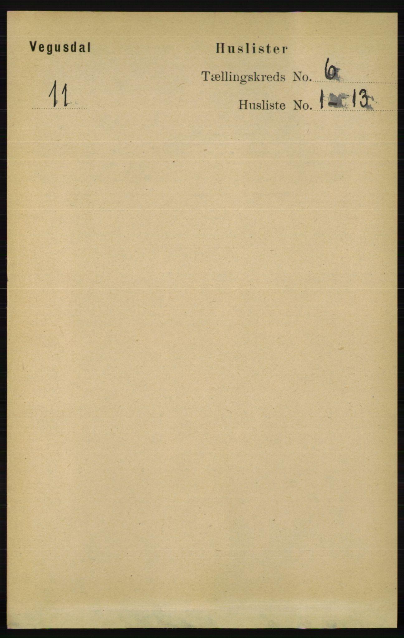 RA, Folketelling 1891 for 0934 Vegusdal herred, 1891, s. 1063
