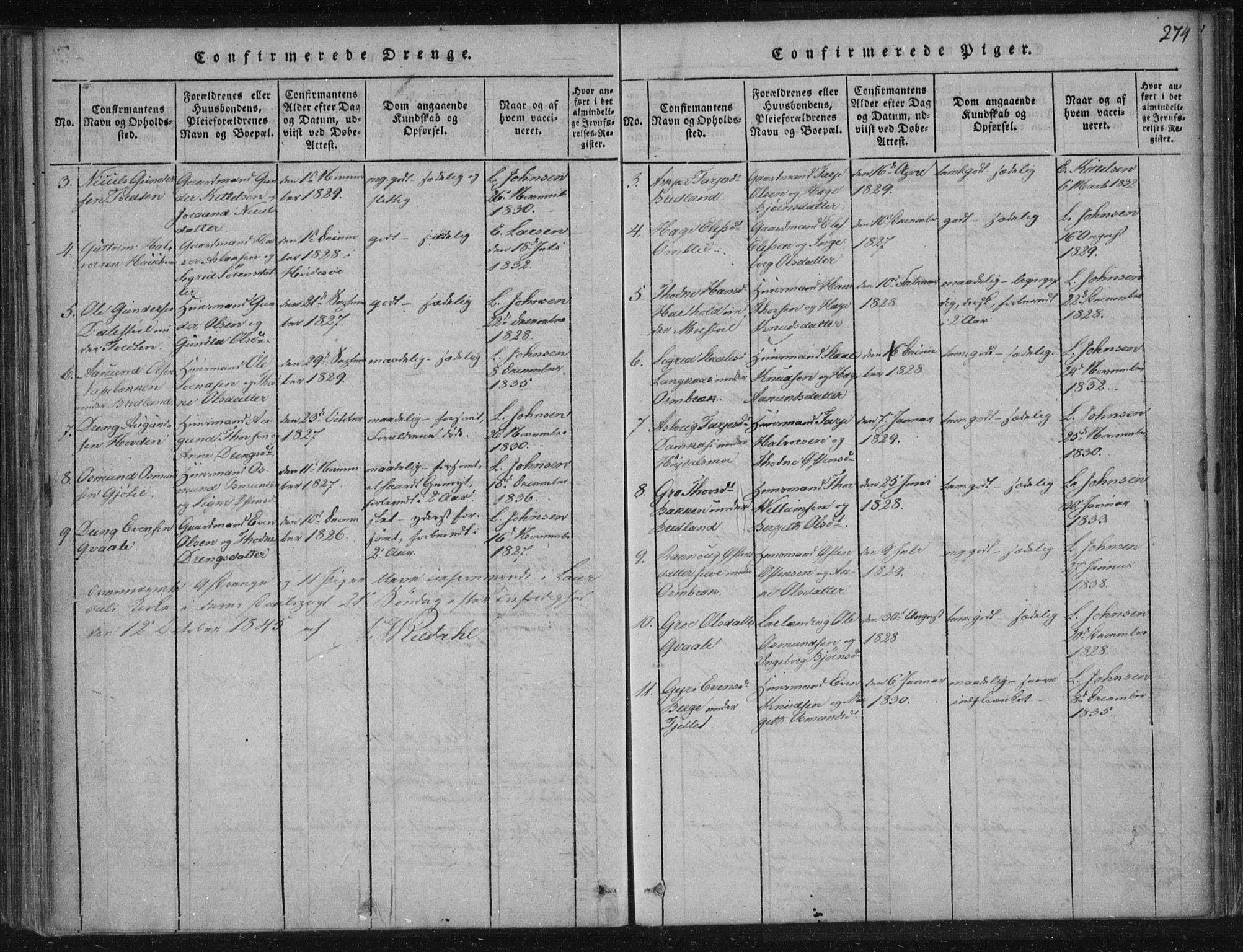 SAKO, Lårdal kirkebøker, F/Fc/L0001: Ministerialbok nr. III 1, 1815-1860, s. 274
