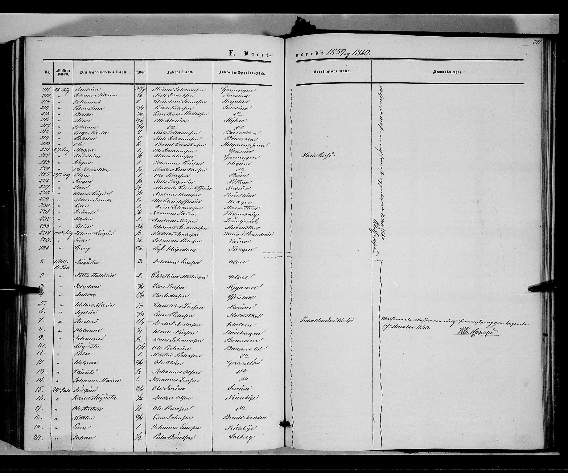 SAH, Vestre Toten prestekontor, Ministerialbok nr. 6, 1856-1861, s. 357