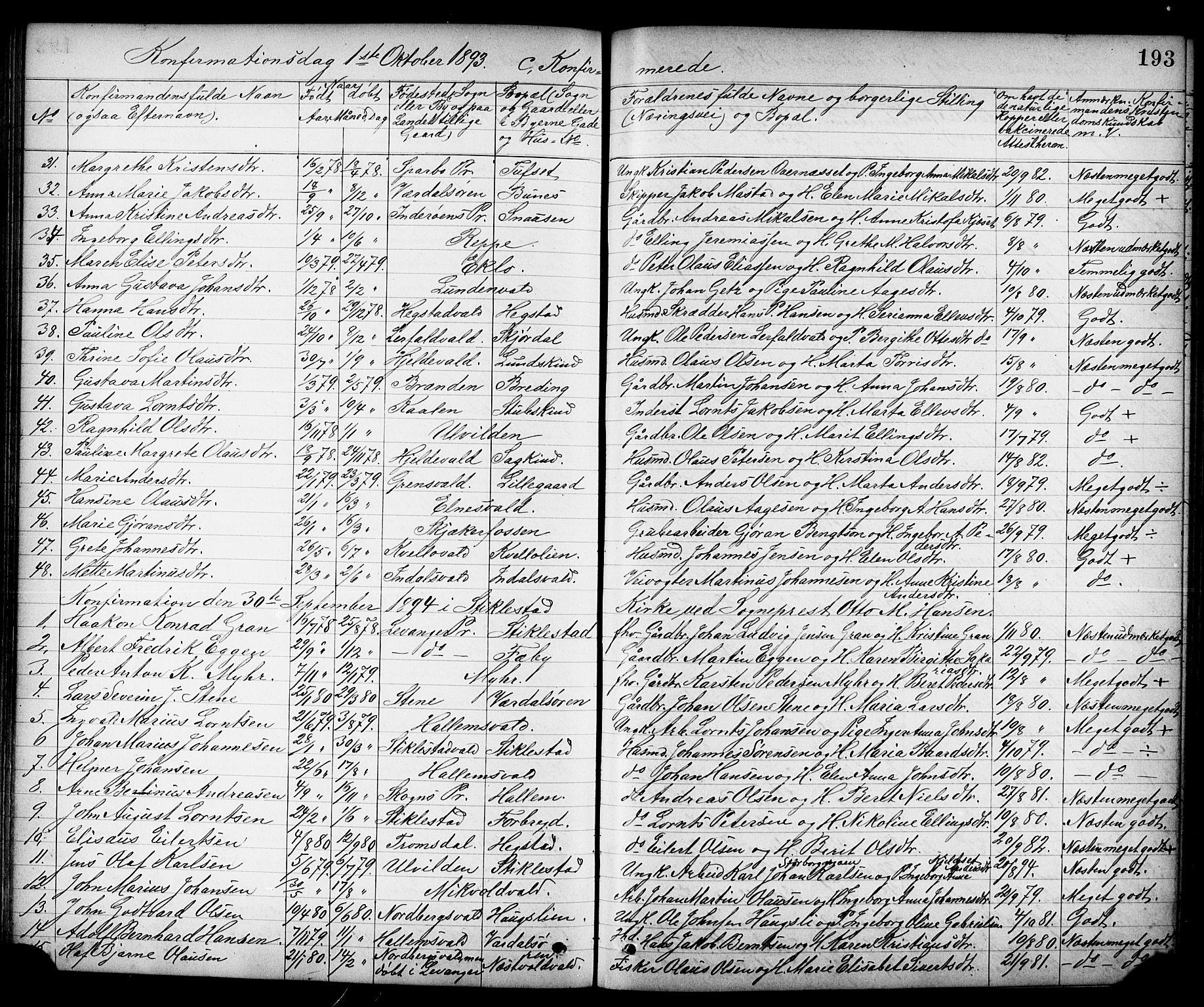 SAT, Ministerialprotokoller, klokkerbøker og fødselsregistre - Nord-Trøndelag, 723/L0257: Klokkerbok nr. 723C05, 1890-1907, s. 193