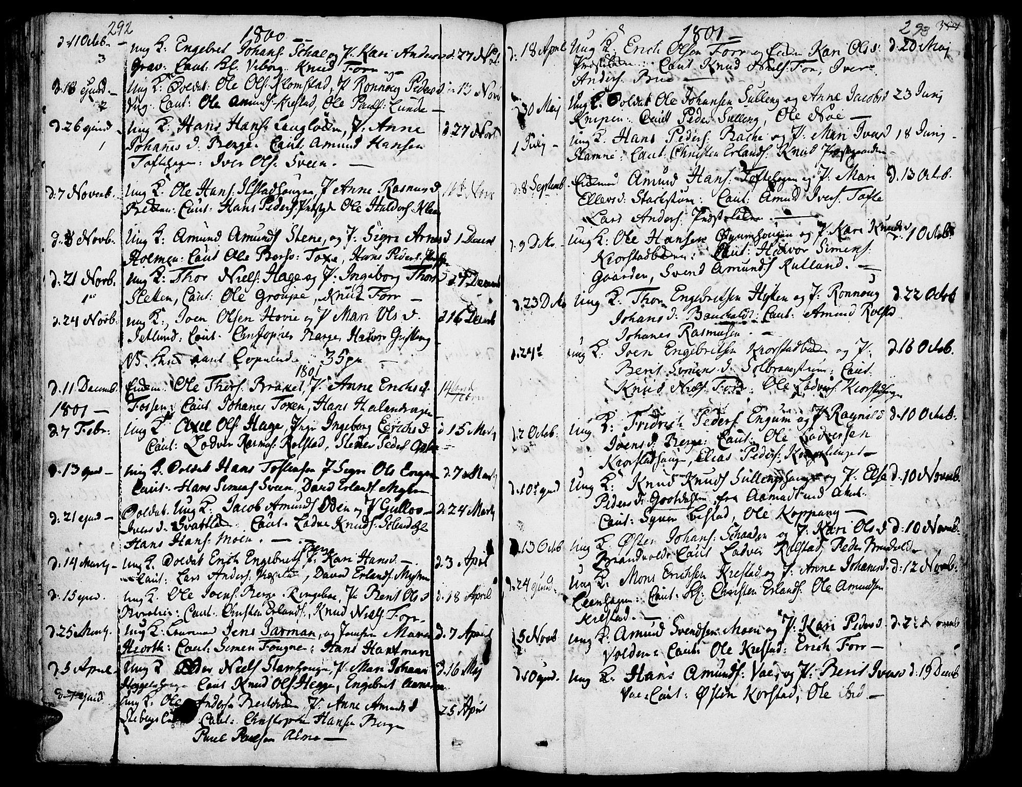SAH, Fron prestekontor, H/Ha/Haa/L0001: Ministerialbok nr. 1, 1799-1816, s. 292-293