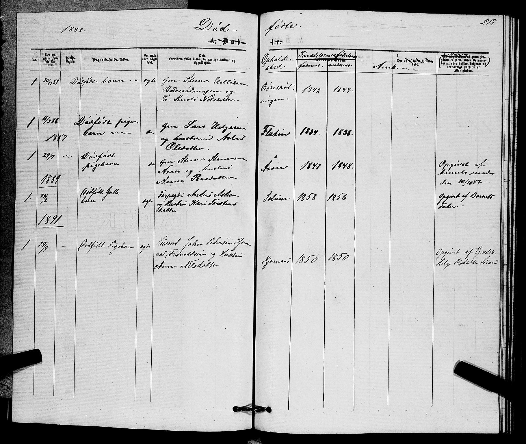 SAKO, Sigdal kirkebøker, G/Gb/L0002: Klokkerbok nr. II 2, 1875-1900, s. 218