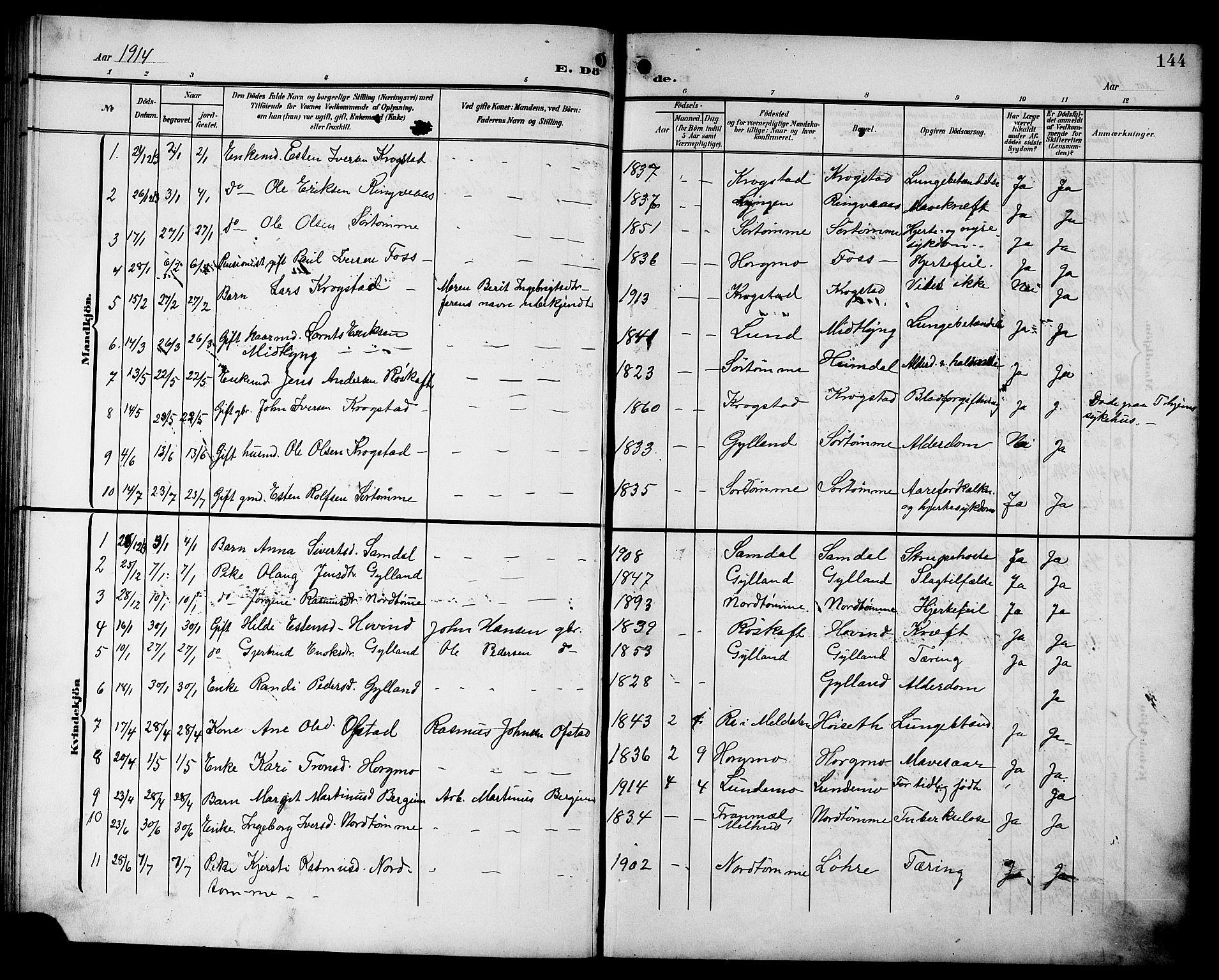 SAT, Ministerialprotokoller, klokkerbøker og fødselsregistre - Sør-Trøndelag, 692/L1112: Klokkerbok nr. 692C07, 1904-1918, s. 144