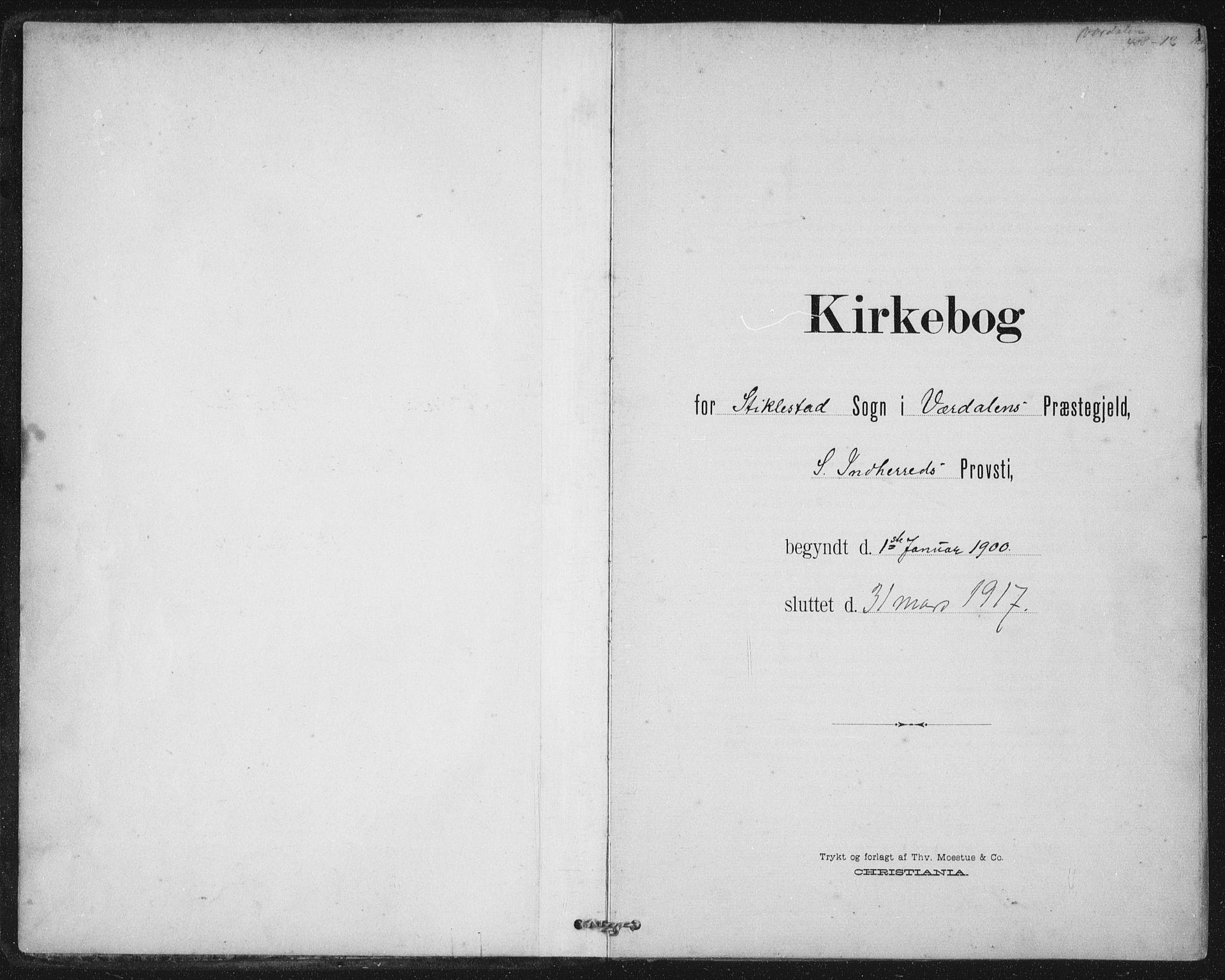 SAT, Ministerialprotokoller, klokkerbøker og fødselsregistre - Nord-Trøndelag, 723/L0246: Ministerialbok nr. 723A15, 1900-1917, s. 1