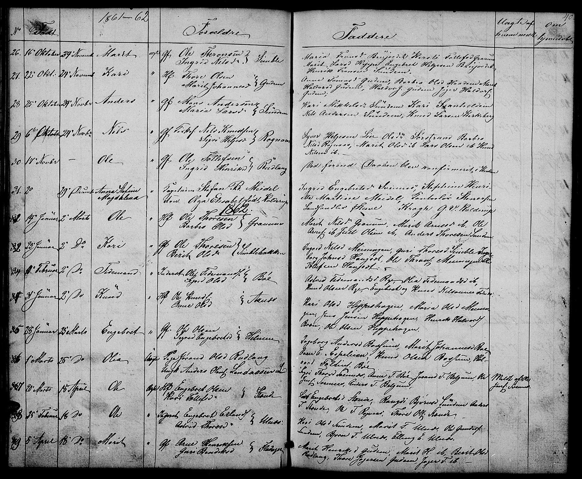 SAH, Nord-Aurdal prestekontor, Klokkerbok nr. 4, 1842-1882, s. 40