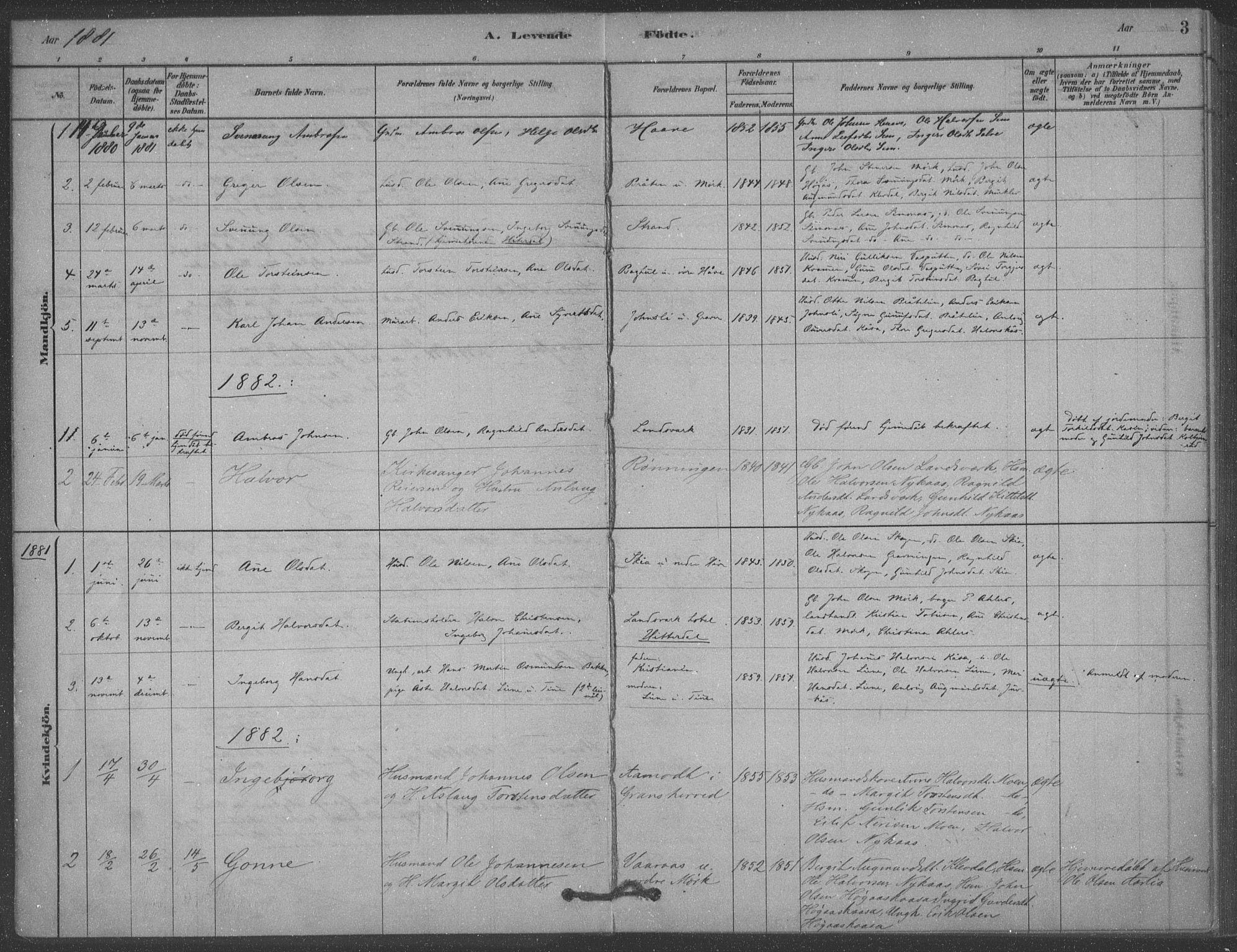 SAKO, Heddal kirkebøker, F/Fb/L0002: Ministerialbok nr. II 2, 1878-1913, s. 3
