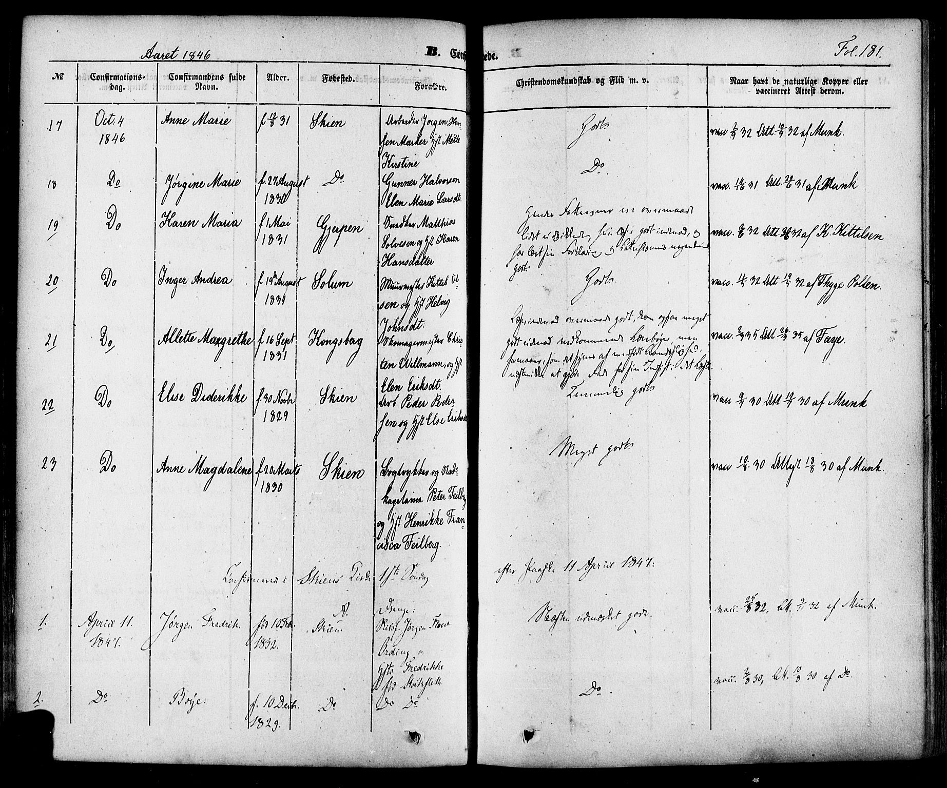 SAKO, Skien kirkebøker, F/Fa/L0006a: Ministerialbok nr. 6A, 1843-1856, s. 181