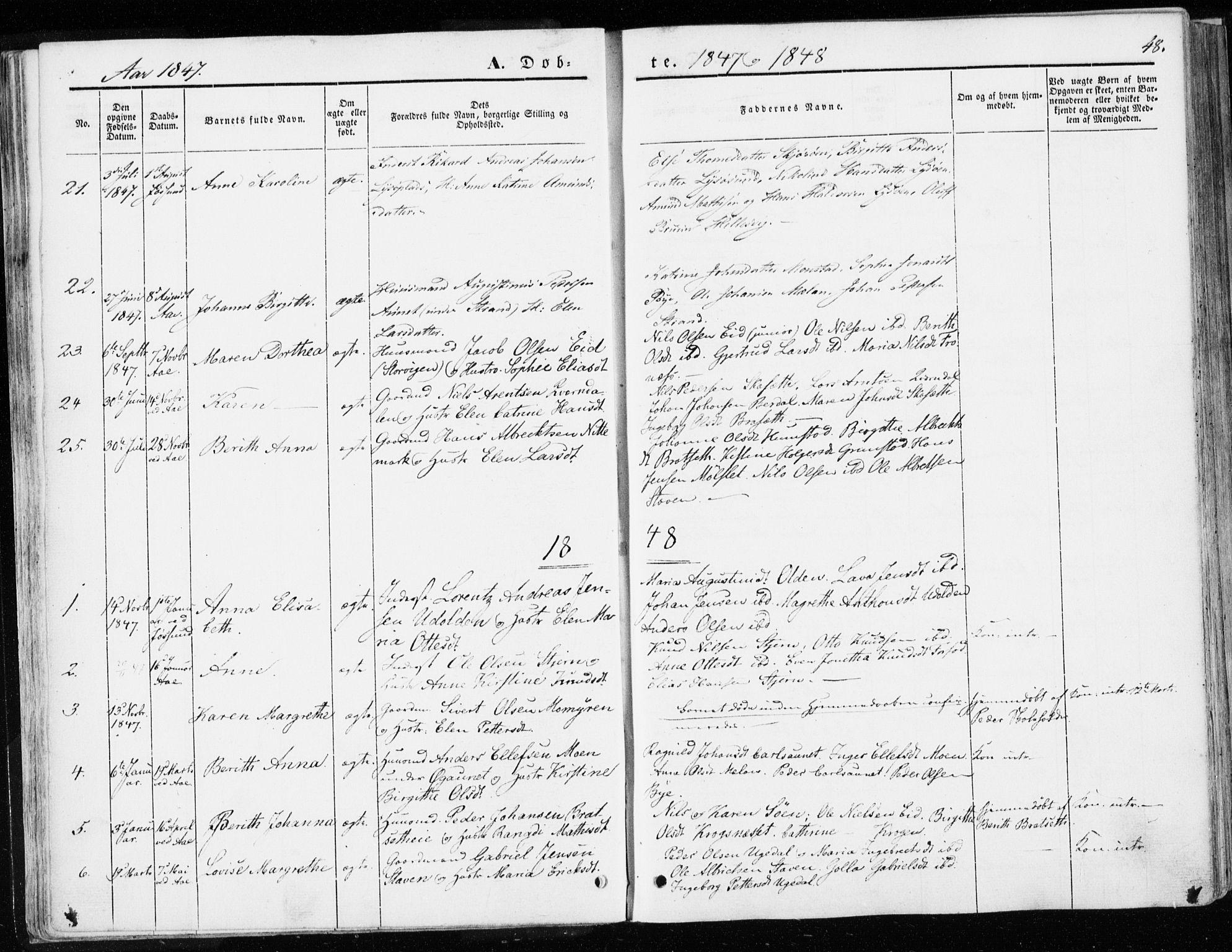 SAT, Ministerialprotokoller, klokkerbøker og fødselsregistre - Sør-Trøndelag, 655/L0677: Ministerialbok nr. 655A06, 1847-1860, s. 48