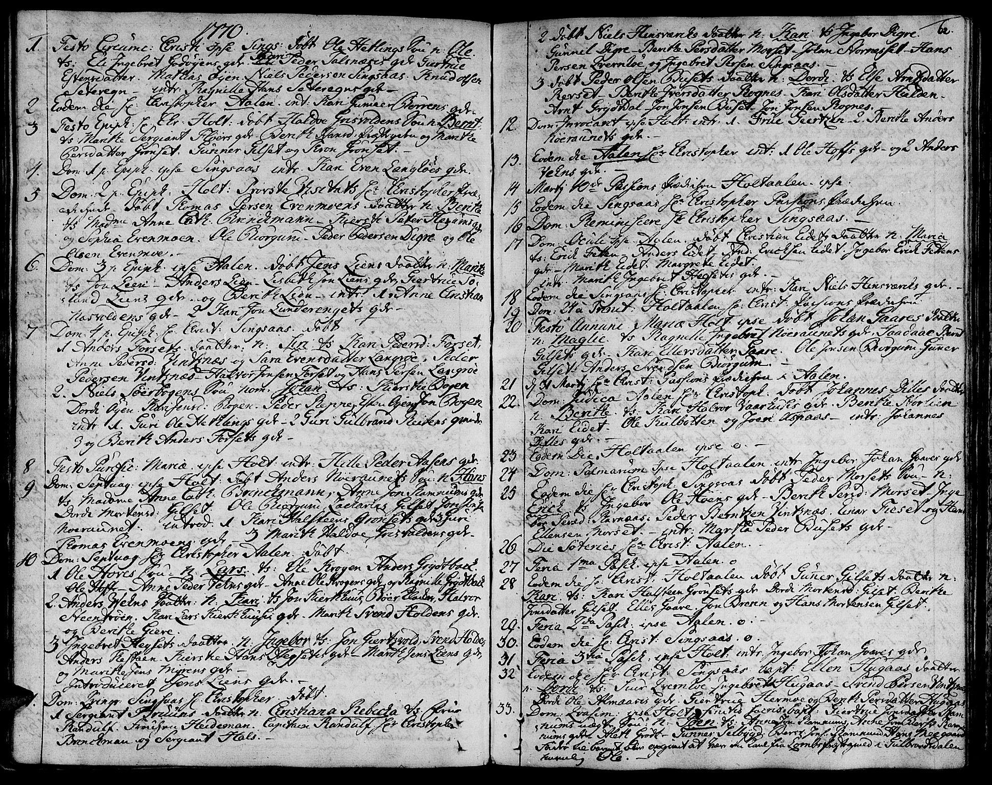 SAT, Ministerialprotokoller, klokkerbøker og fødselsregistre - Sør-Trøndelag, 685/L0952: Ministerialbok nr. 685A01, 1745-1804, s. 62