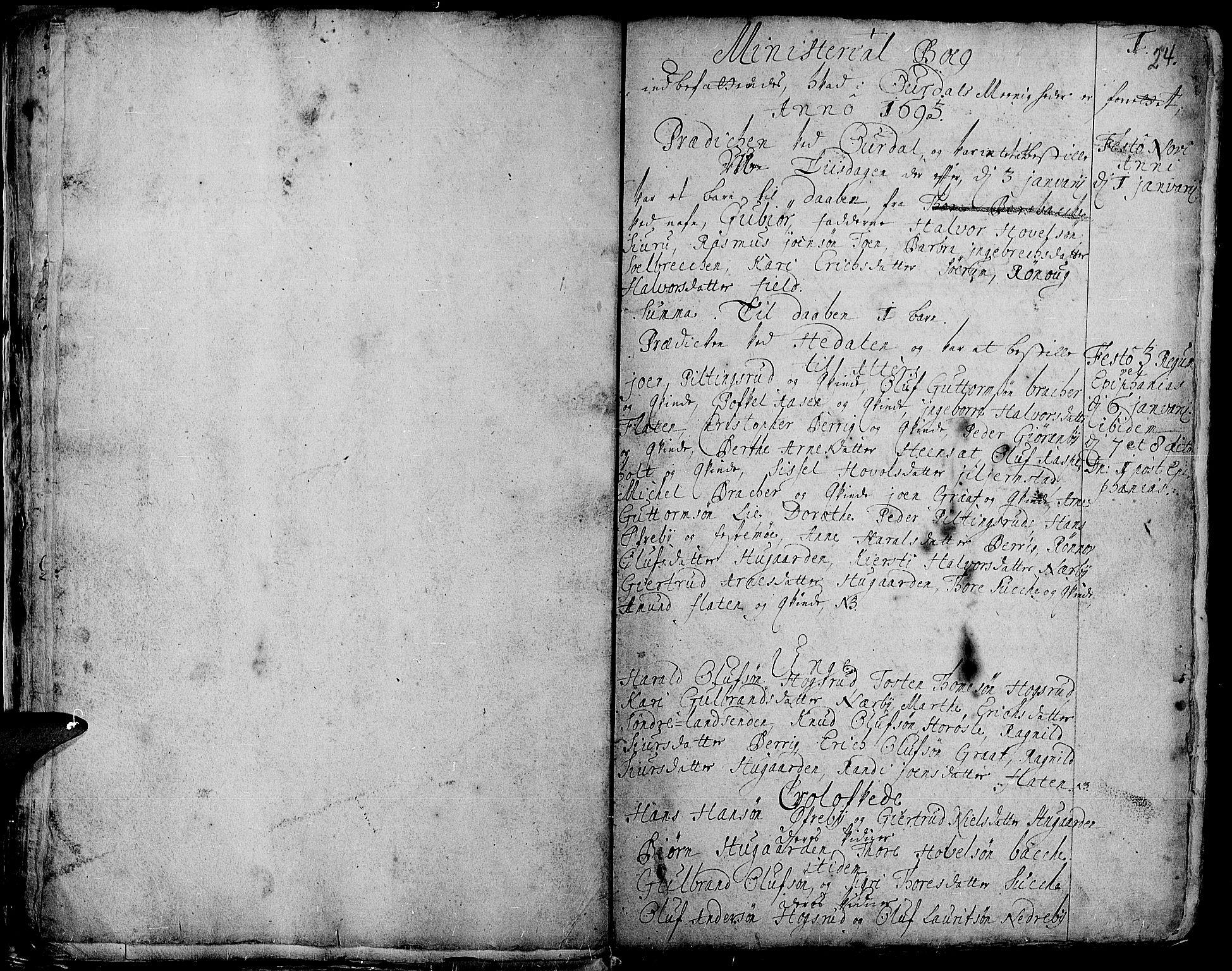 SAH, Aurdal prestekontor, Ministerialbok nr. 1-3, 1692-1730, s. 24