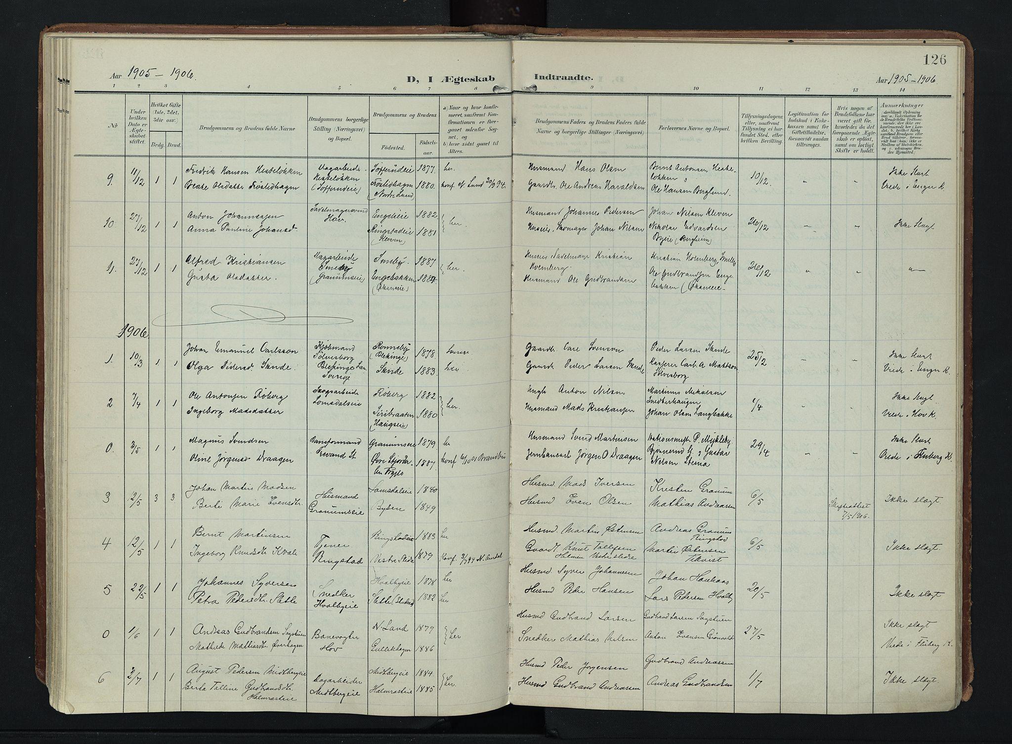 SAH, Søndre Land prestekontor, K/L0007: Ministerialbok nr. 7, 1905-1914, s. 126