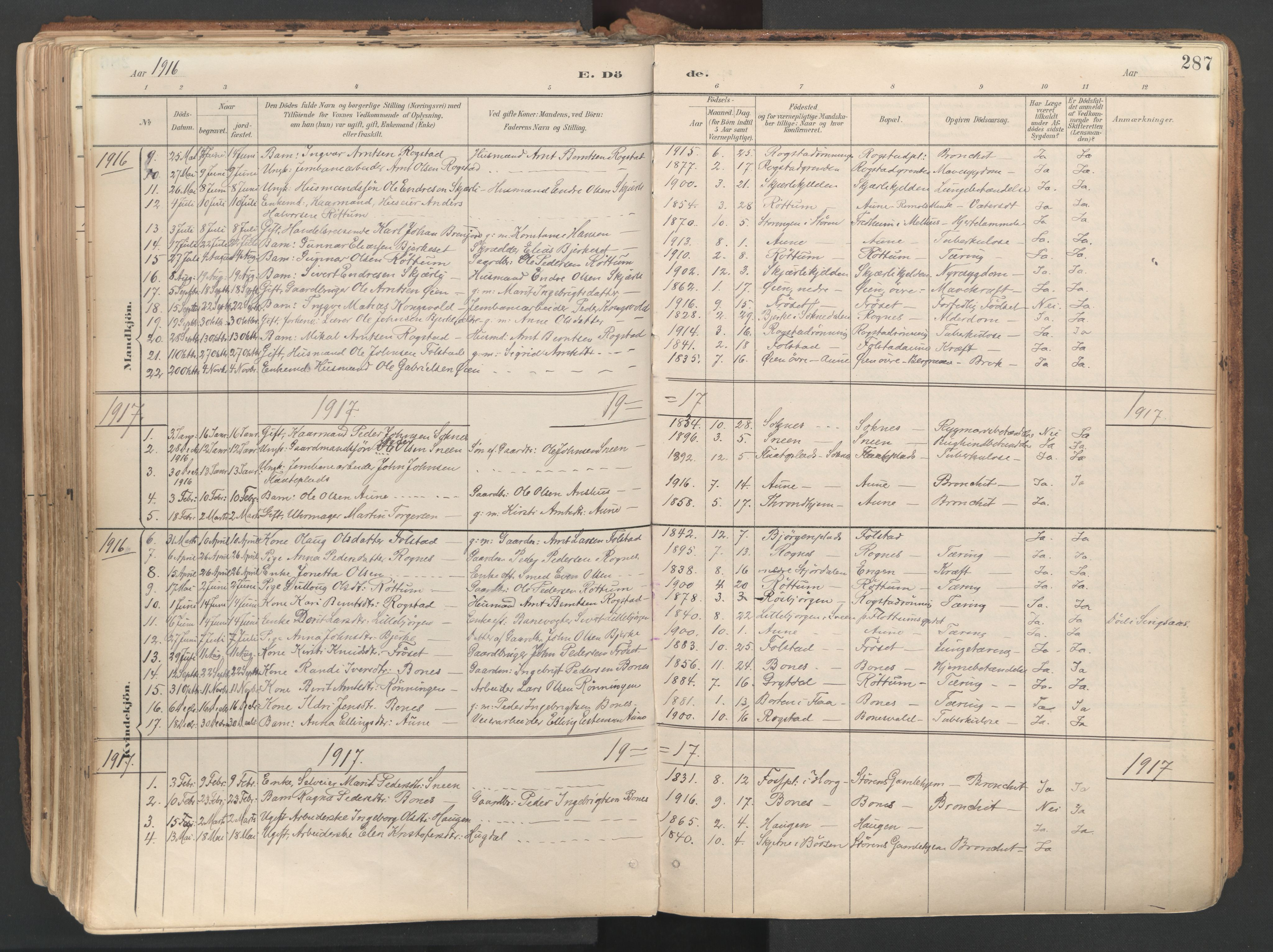 SAT, Ministerialprotokoller, klokkerbøker og fødselsregistre - Sør-Trøndelag, 687/L1004: Ministerialbok nr. 687A10, 1891-1923, s. 287
